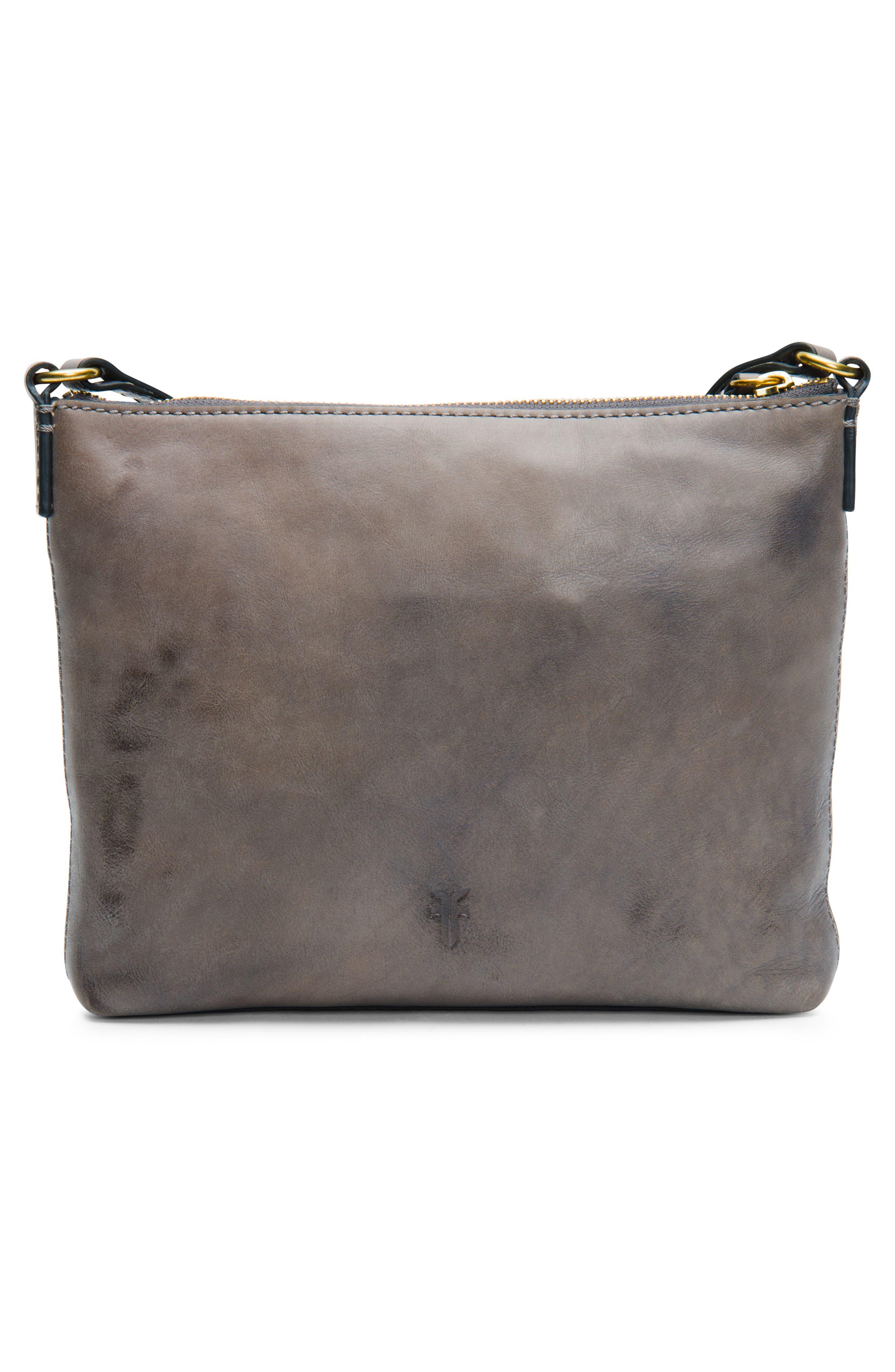 Carson Leather Crossbody Bag,                             Alternate thumbnail 3, color,                             GREY