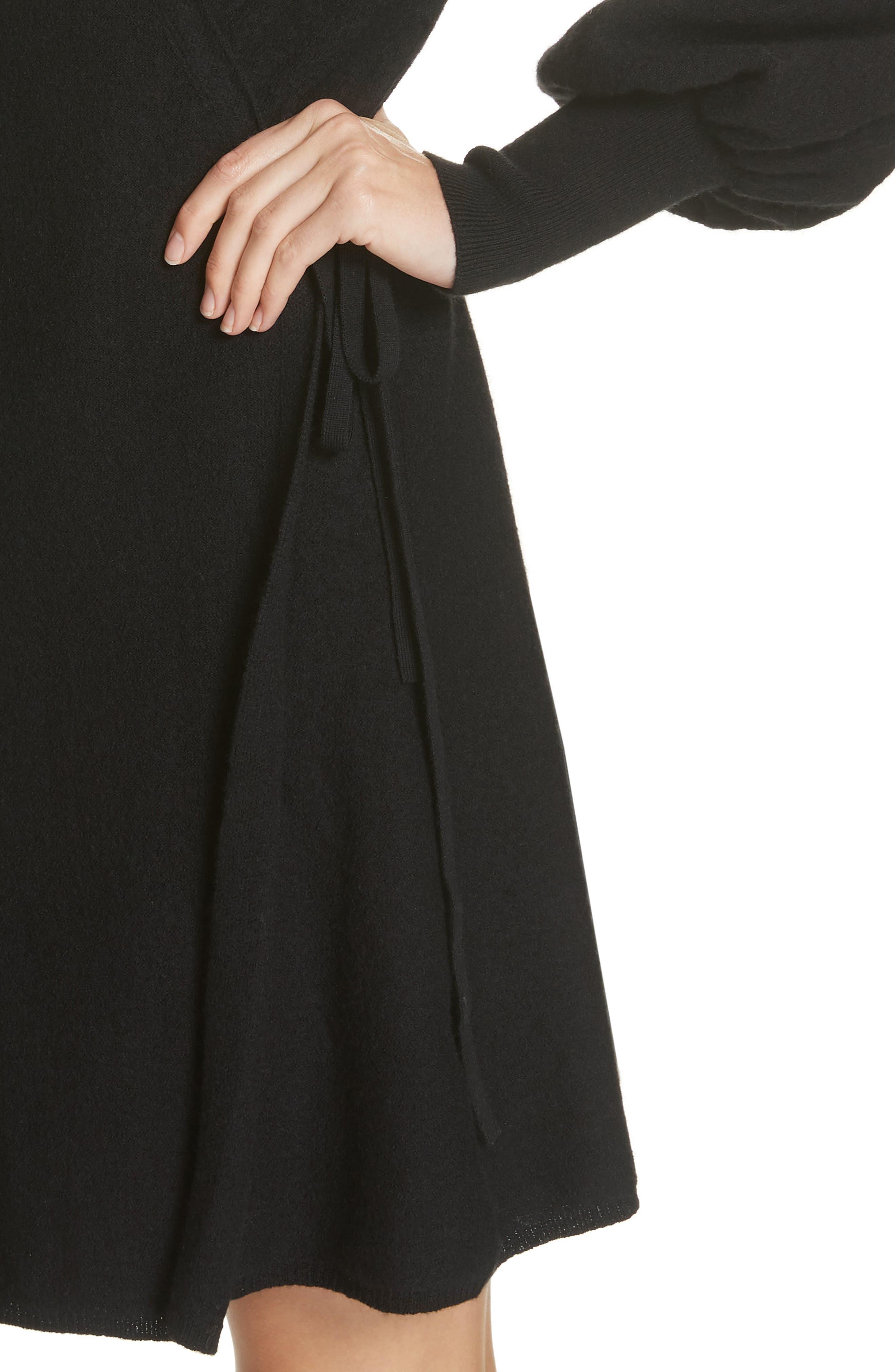 Sevilla Wool Felt Dress,                             Alternate thumbnail 4, color,                             BLACK