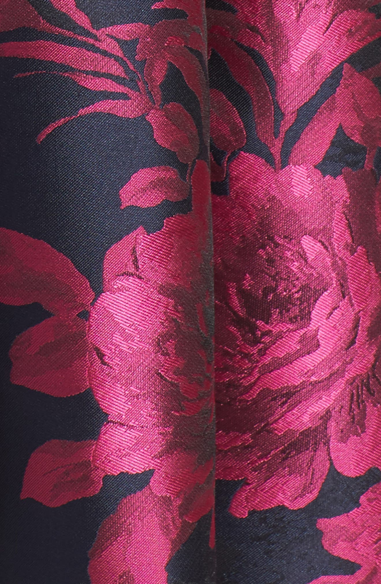 Floral Jacquard Fit & Flare Dress,                             Alternate thumbnail 5, color,