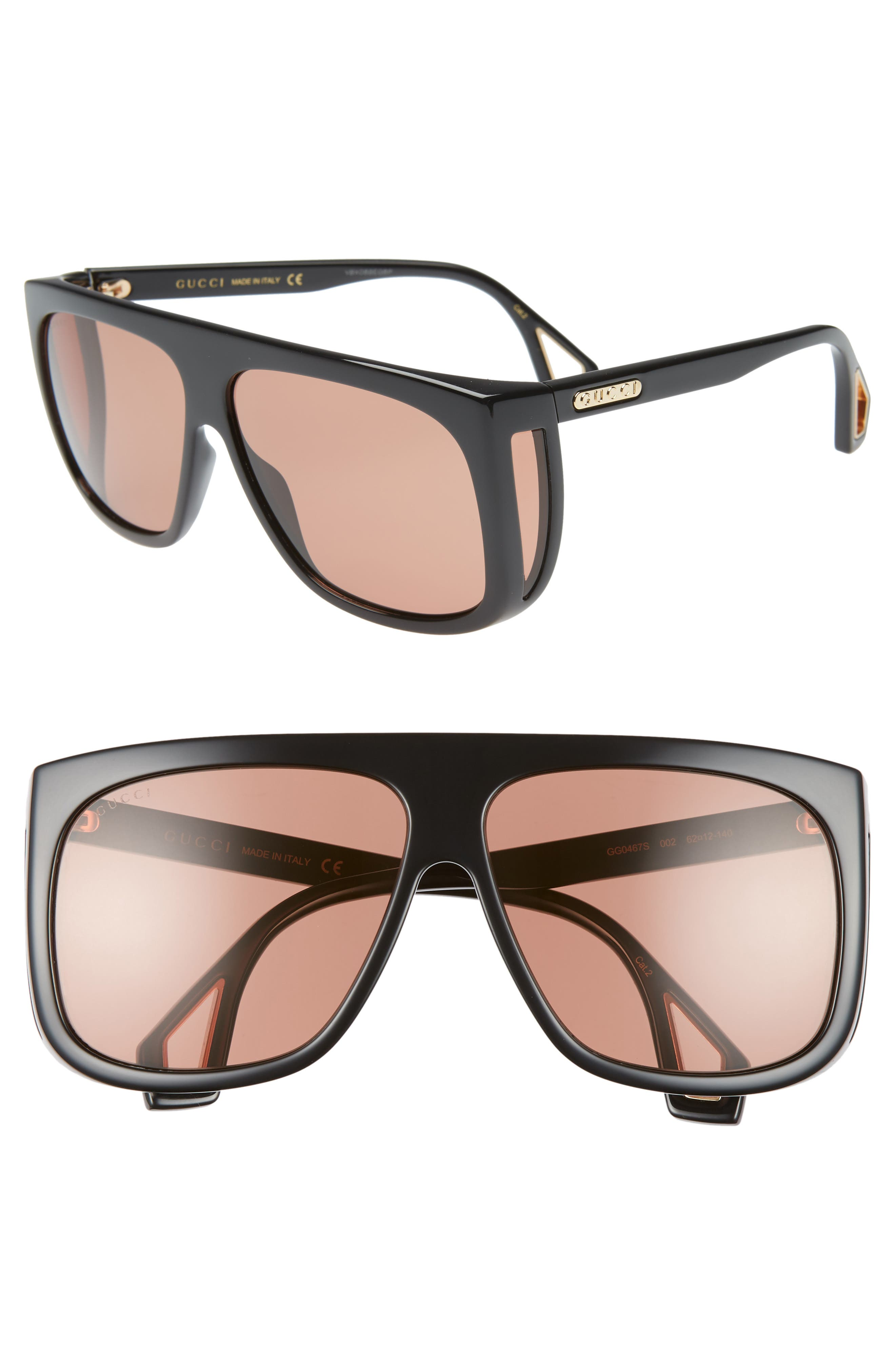 Gucci 62Mm Oversize Flat Top Sunglasses - Shiny Black Mazzuc/red Solid