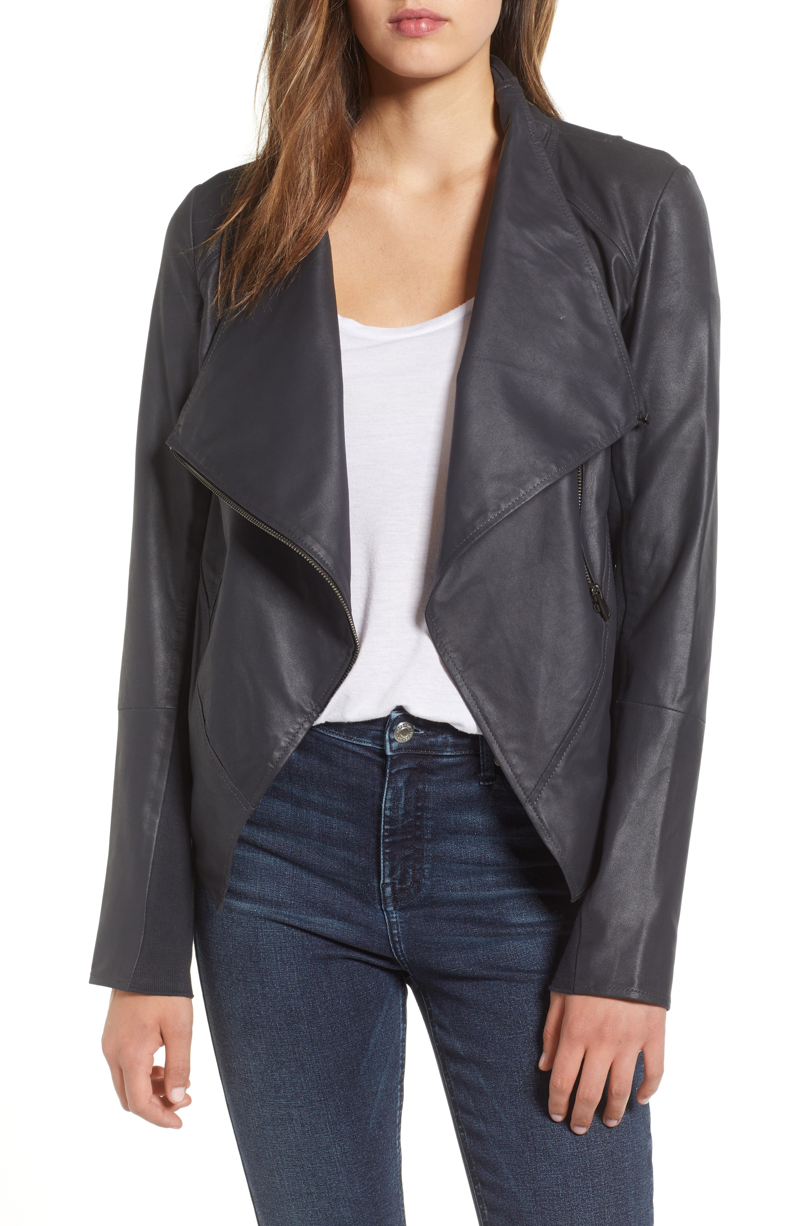 LAMARQUE Asymmetrical Zip Front Leather Cascade Jacket in Navy