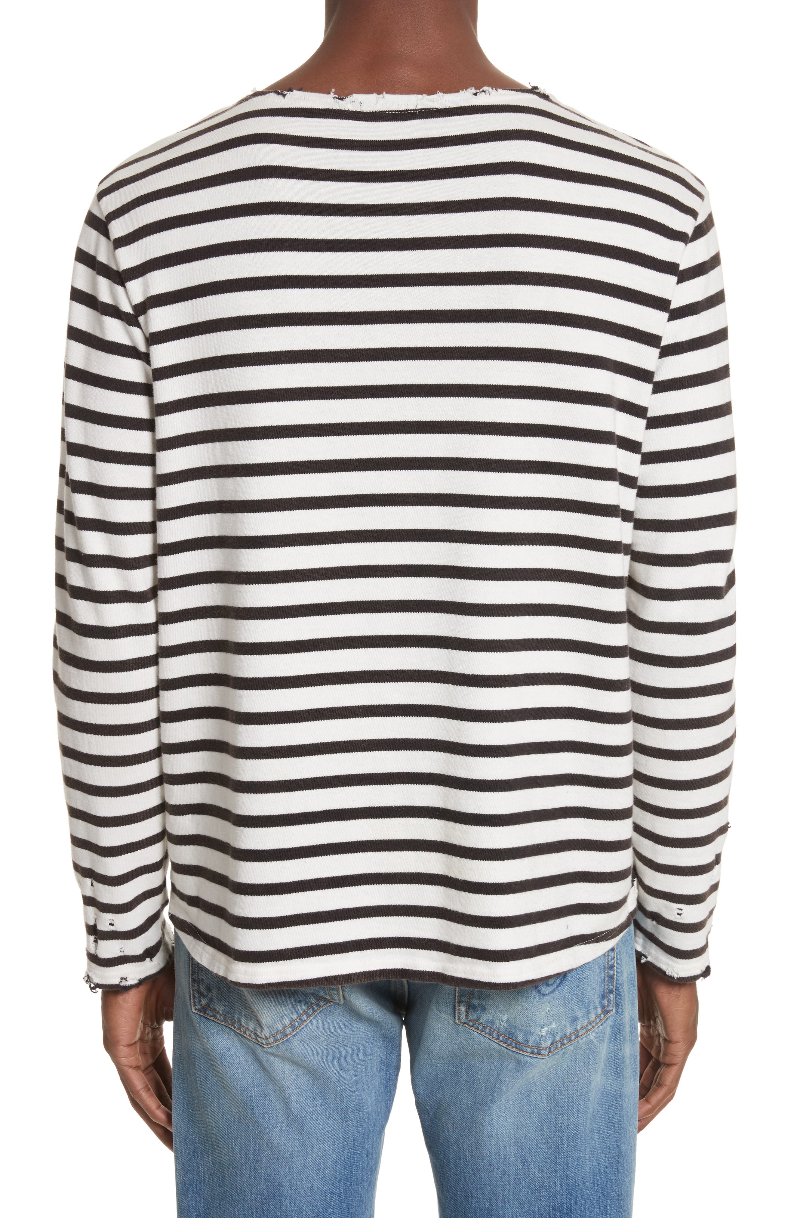 Distressed Stripe Long Sleeve T-Shirt,                             Alternate thumbnail 2, color,                             BLACK W/ ECRU