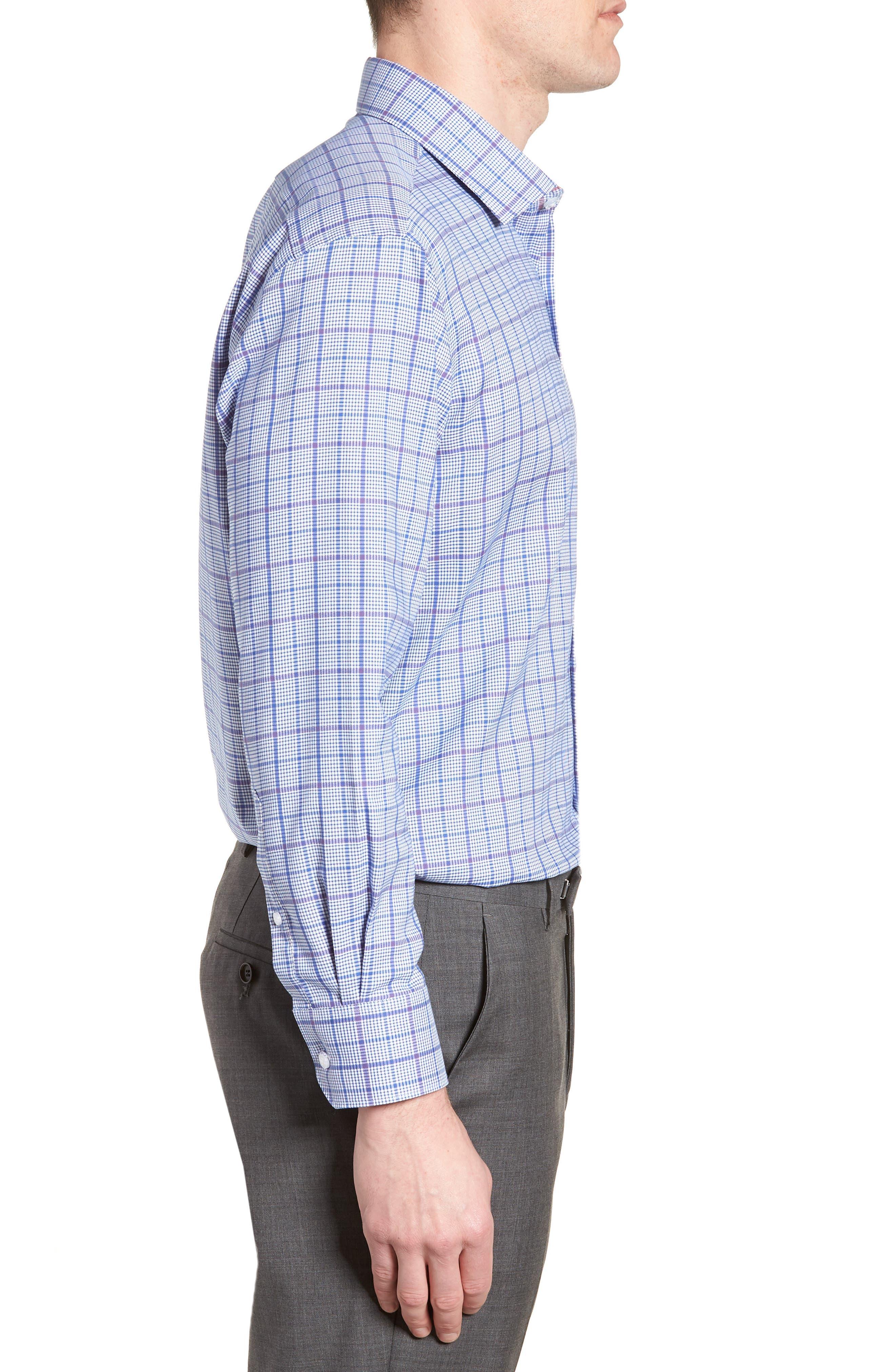 Kaden Trim Fit Plaid Dress Shirt,                             Alternate thumbnail 4, color,                             430