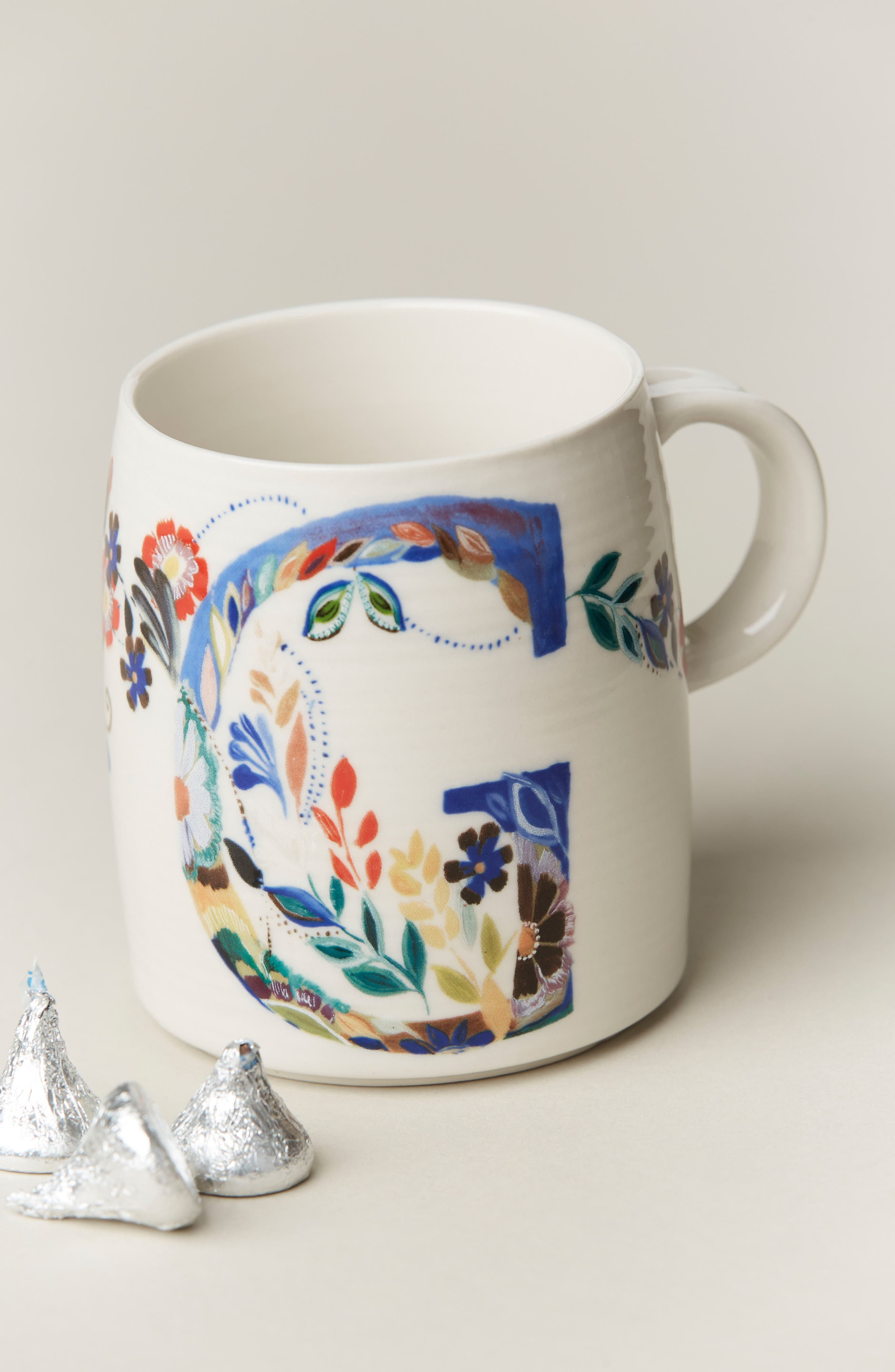 ANTHROPOLOGIE,                             Petal Palette Monogram Mug,                             Alternate thumbnail 2, color,                             PINK - G