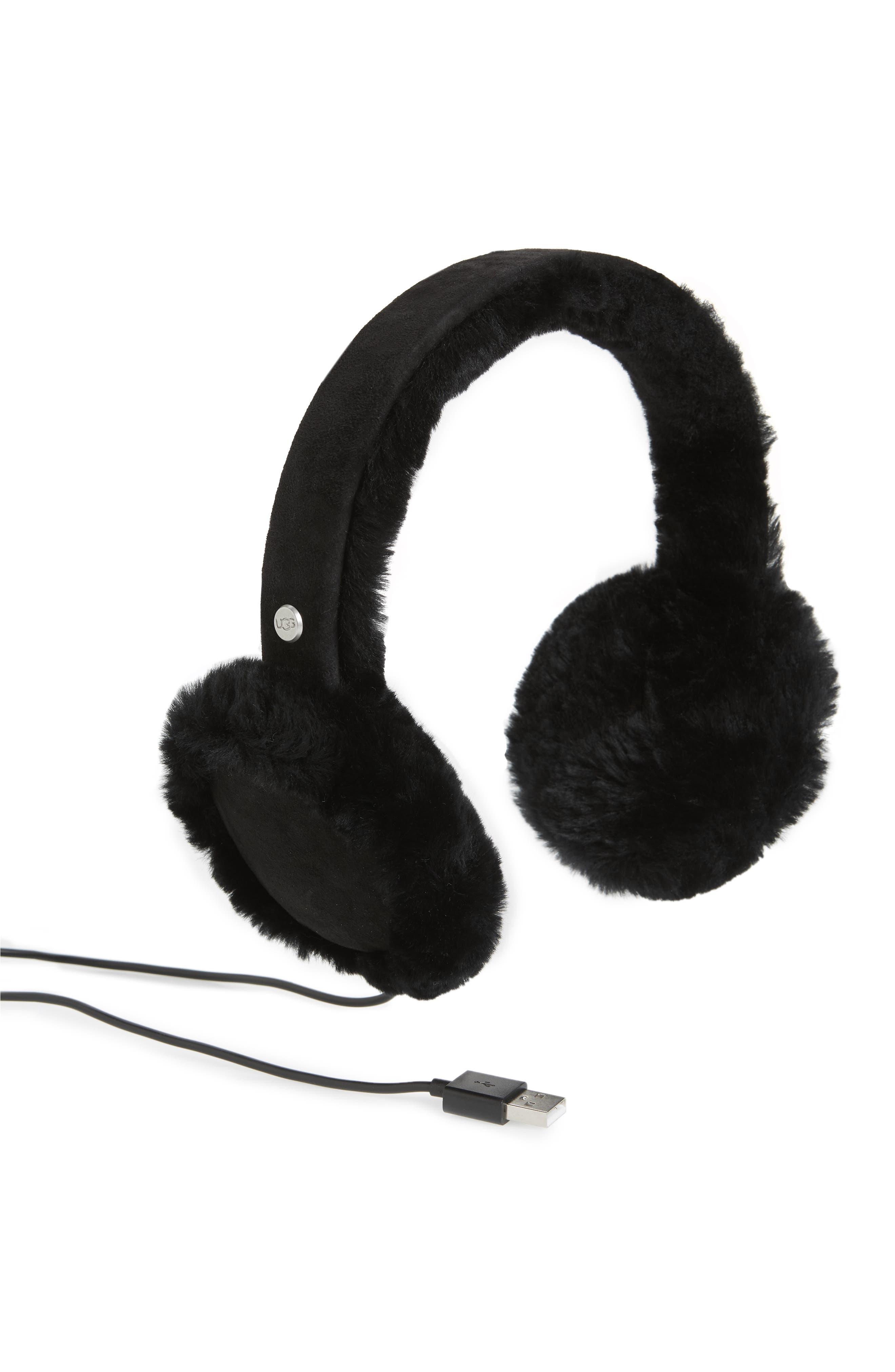 Genuine Shearling Bluetooth<sup>®</sup> Earmuffs,                             Main thumbnail 1, color,                             BLACK