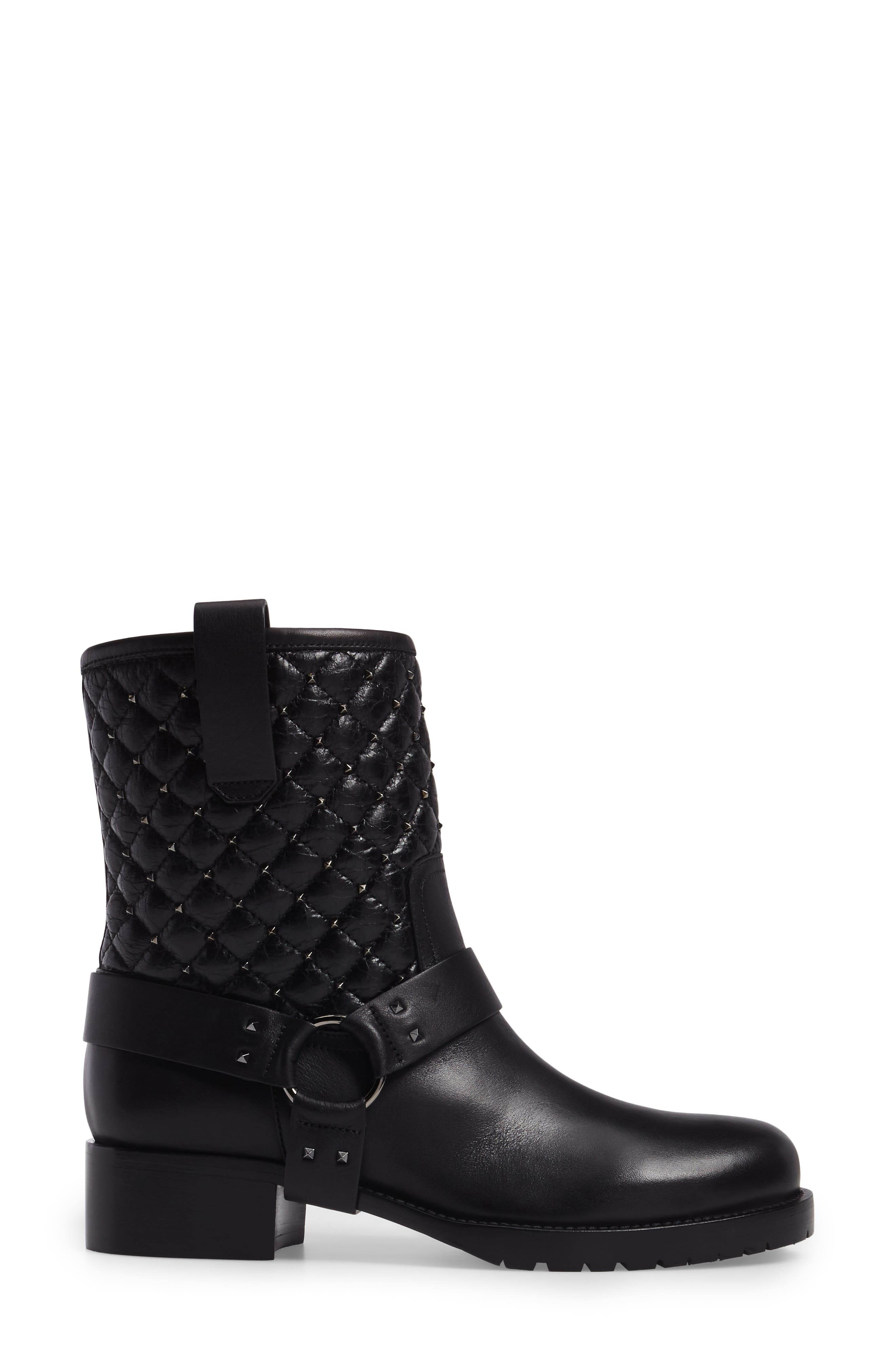 Rockstud Quilted Harness Bootie,                             Alternate thumbnail 3, color,                             001