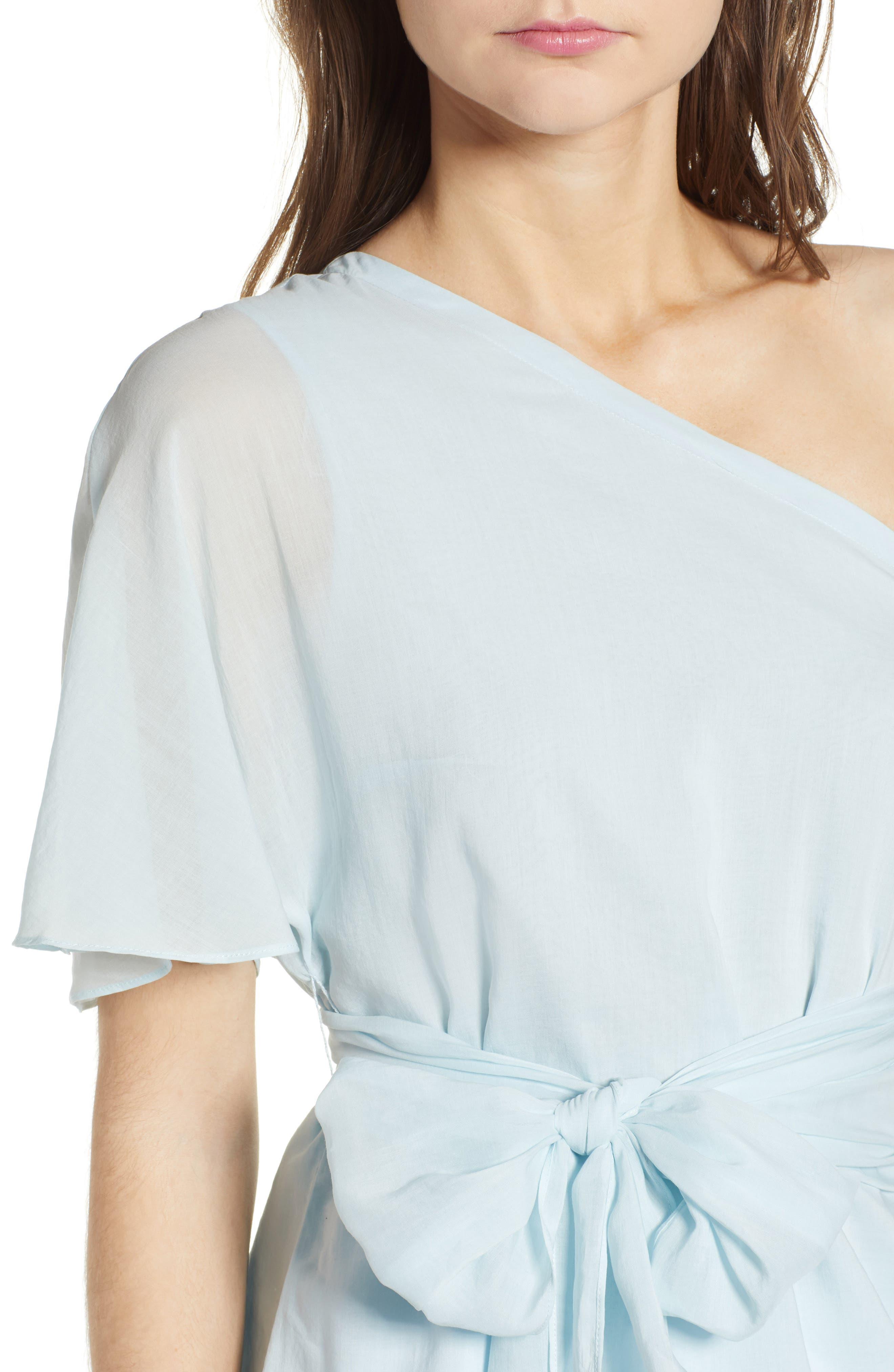 Tie Waist One-Shoulder Blouse,                             Alternate thumbnail 4, color,                             470