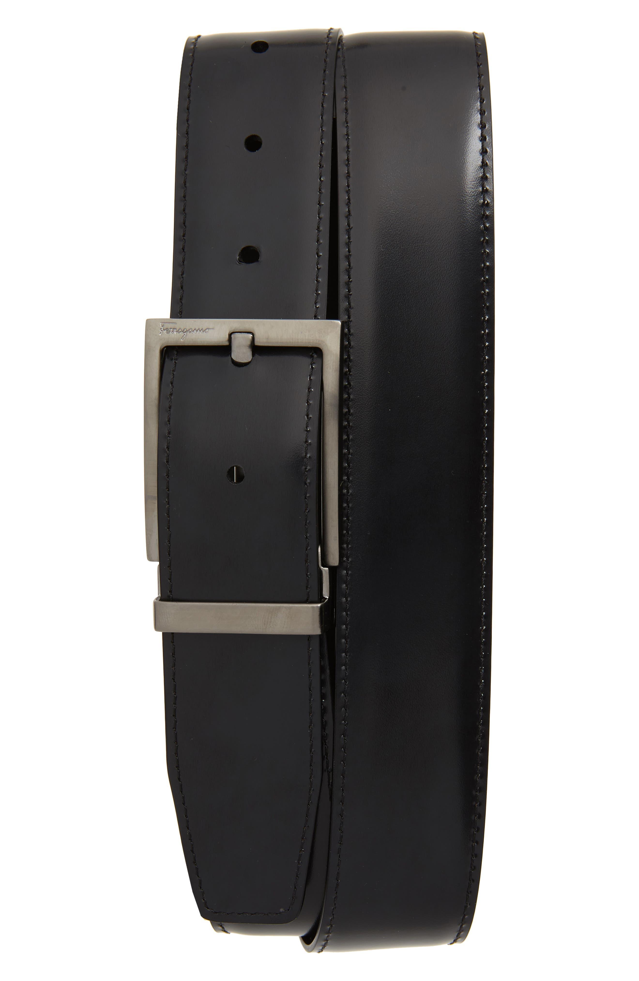 Reversible Leather Belt,                             Alternate thumbnail 2, color,                             AFRICA/ NERO
