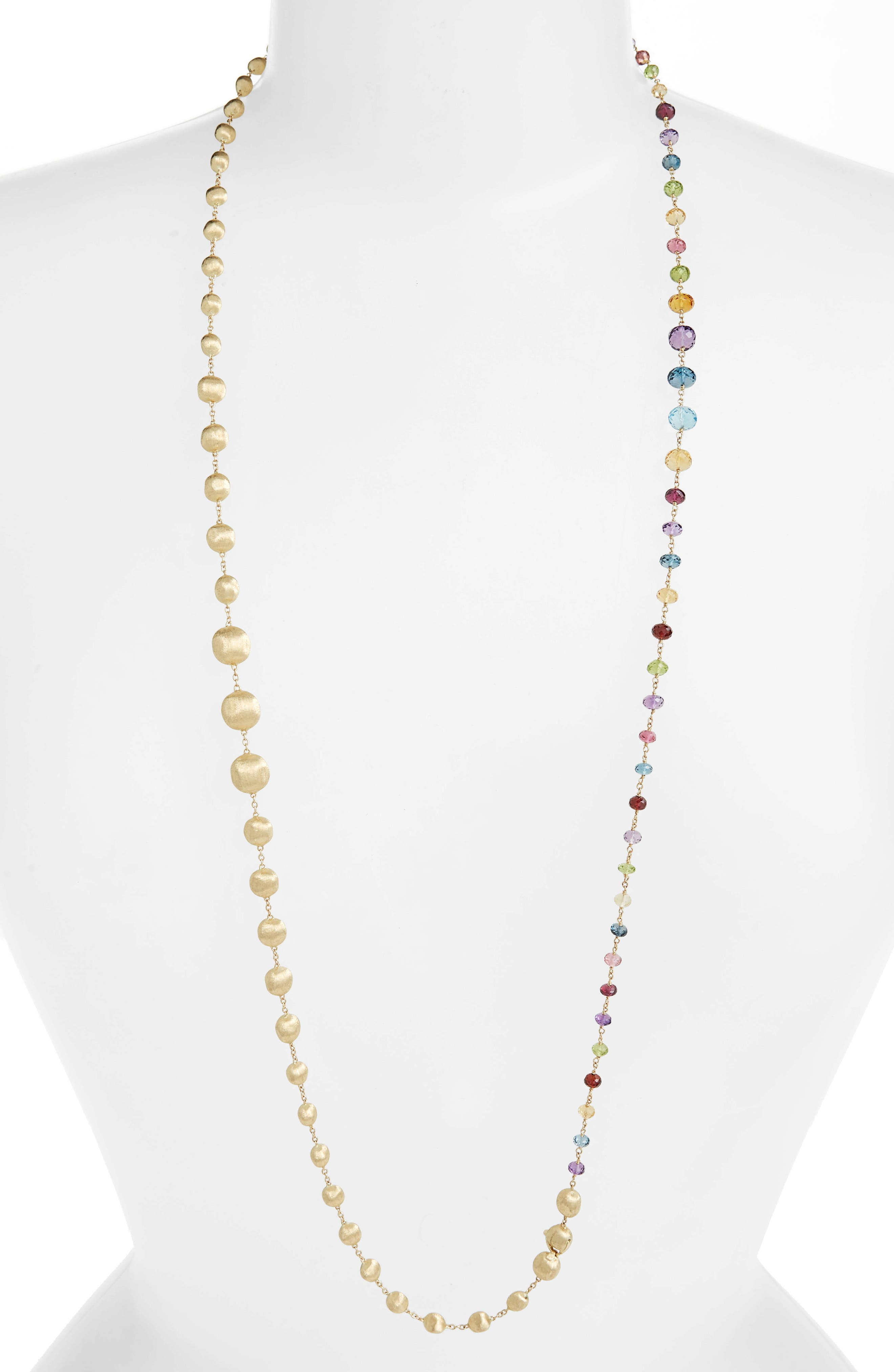 Africa Semiprecious Stone Long Strand Necklace, Main, color, YELLOW GOLD