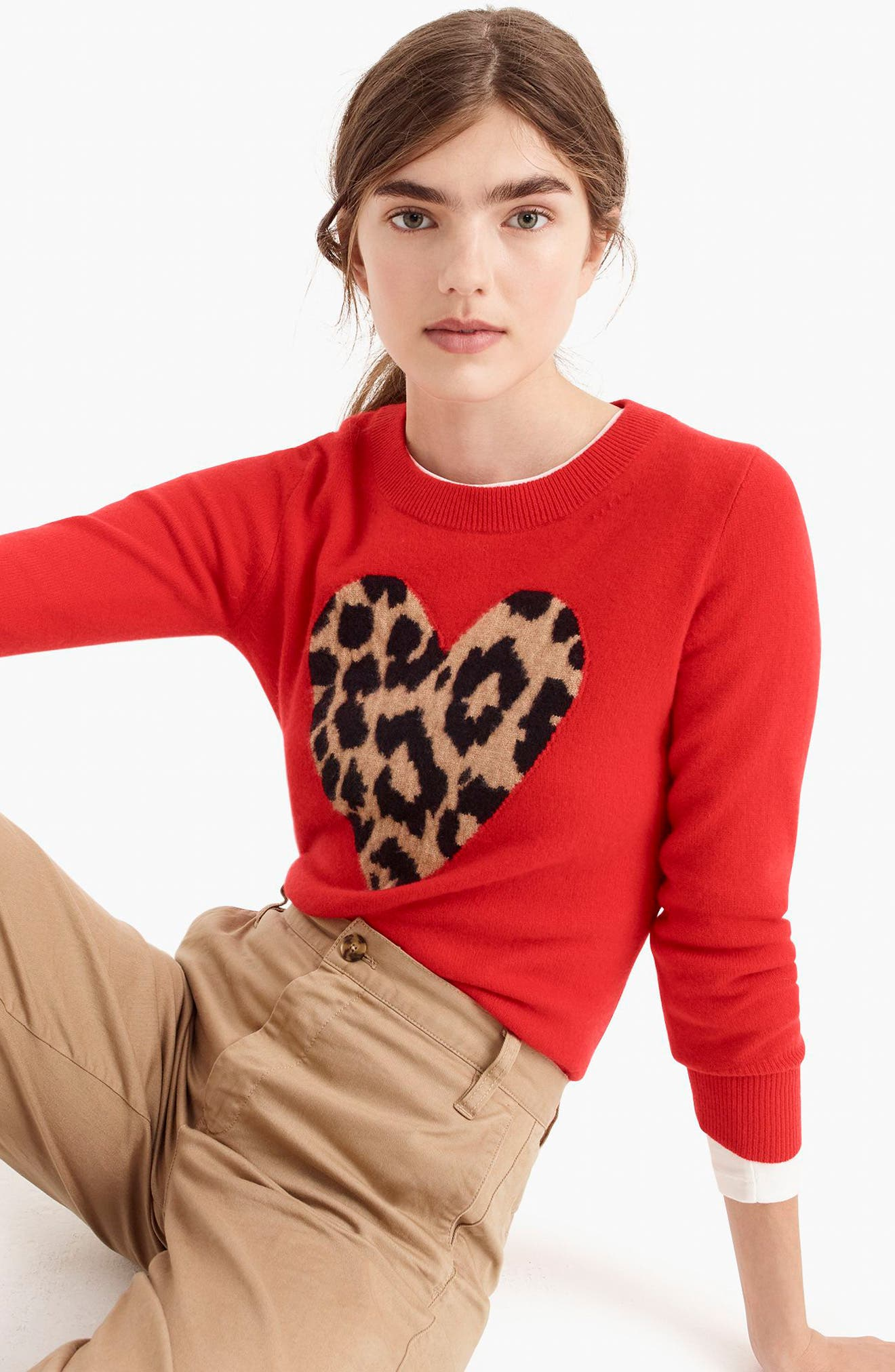 Leopard Heart Everyday Cashmere Sweater,                             Alternate thumbnail 14, color,                             600