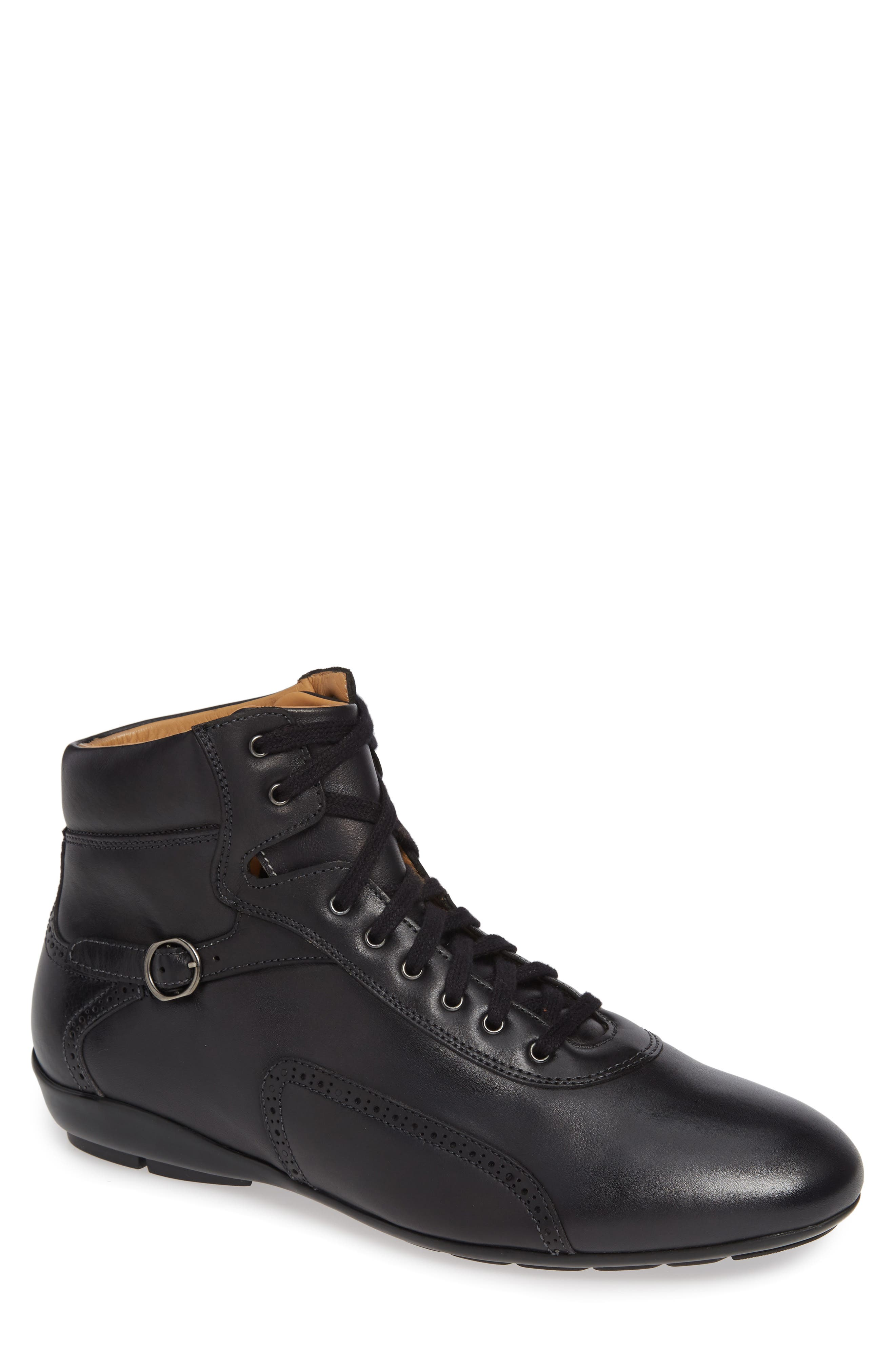 Pasquale High Top Sneaker in Graphite Leather