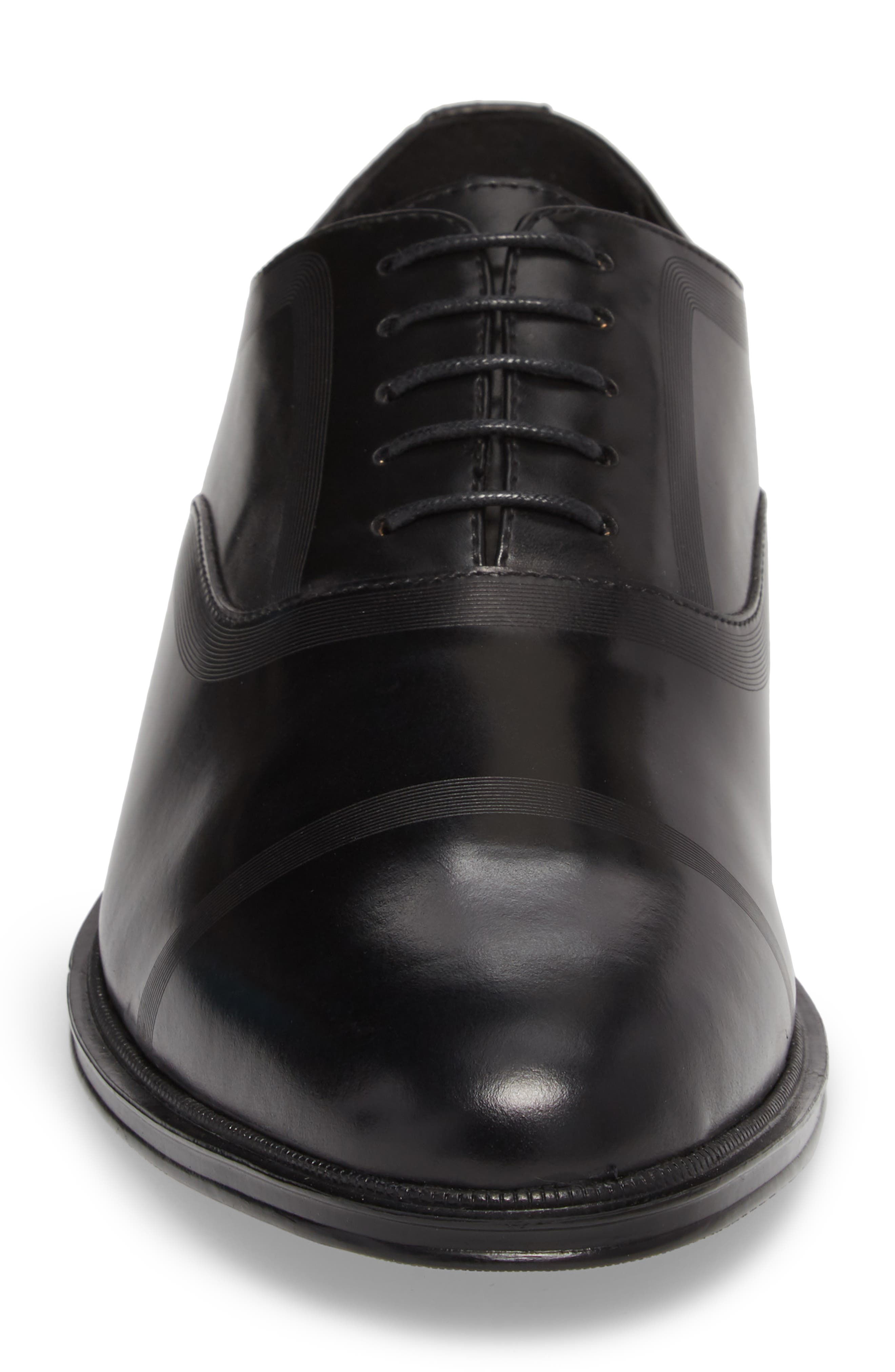 Zac Lace-Up Oxford,                             Alternate thumbnail 4, color,                             BLACK