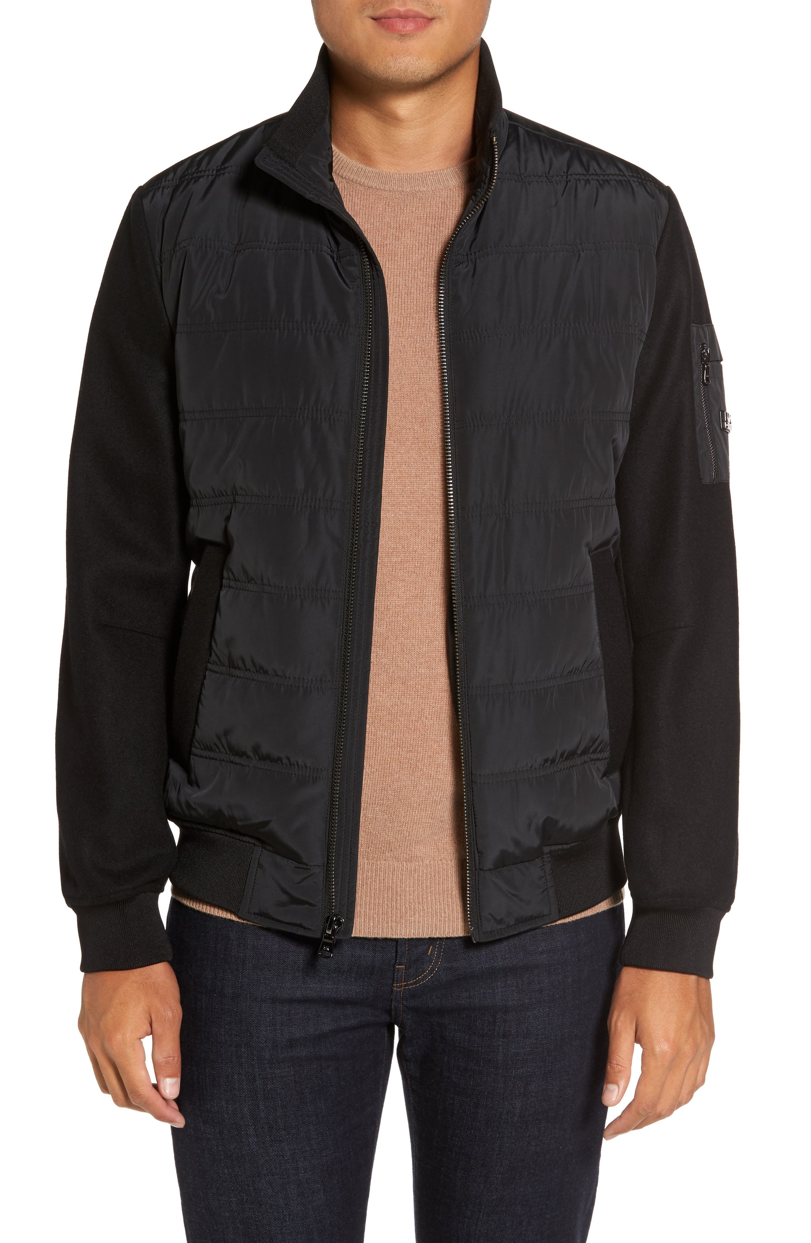 Mixed Media Quilted Jacket,                             Main thumbnail 1, color,                             BLACK