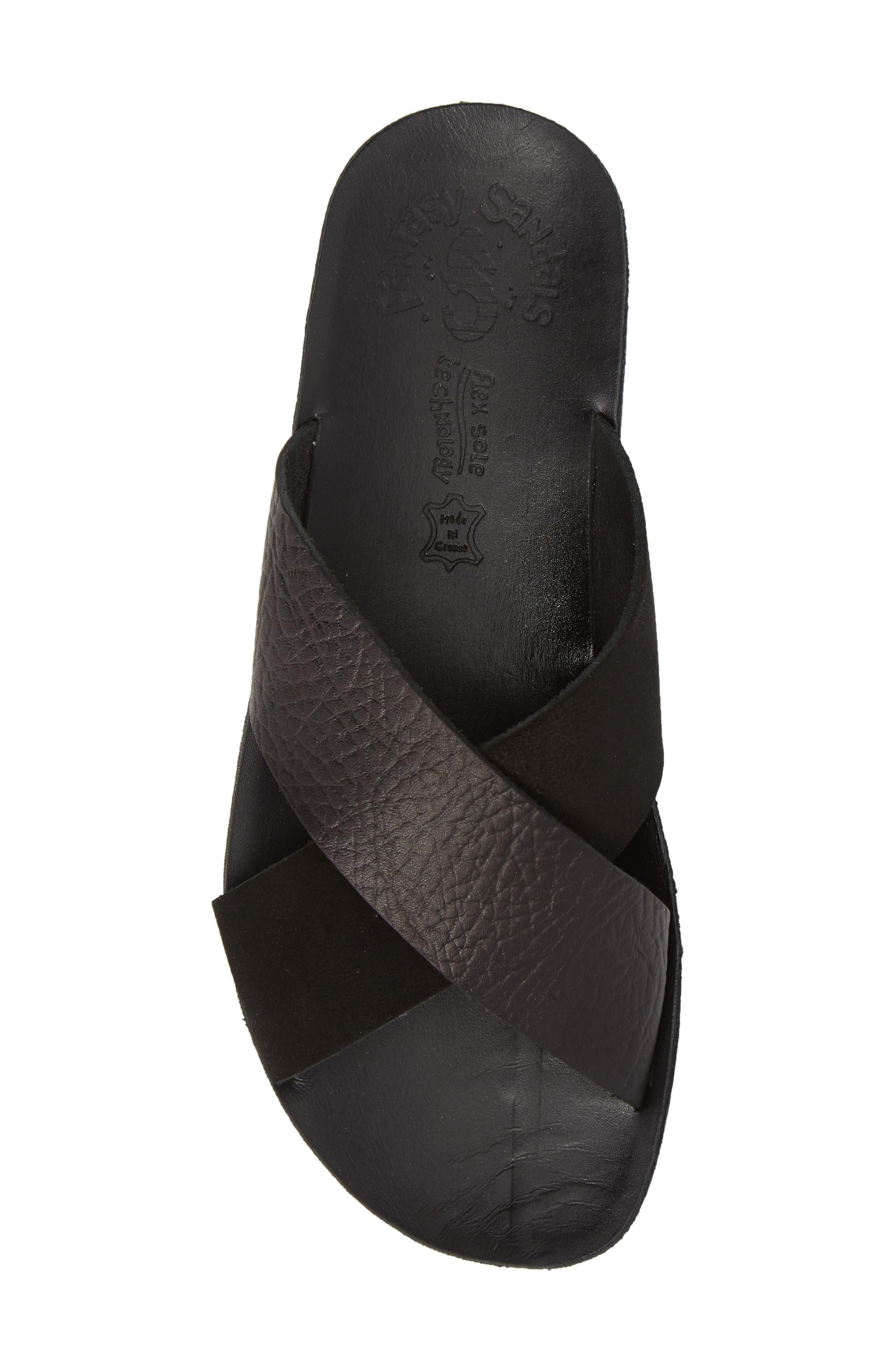 Charis Slide Sandal,                             Alternate thumbnail 5, color,                             BLACK DOLARO LEATHER
