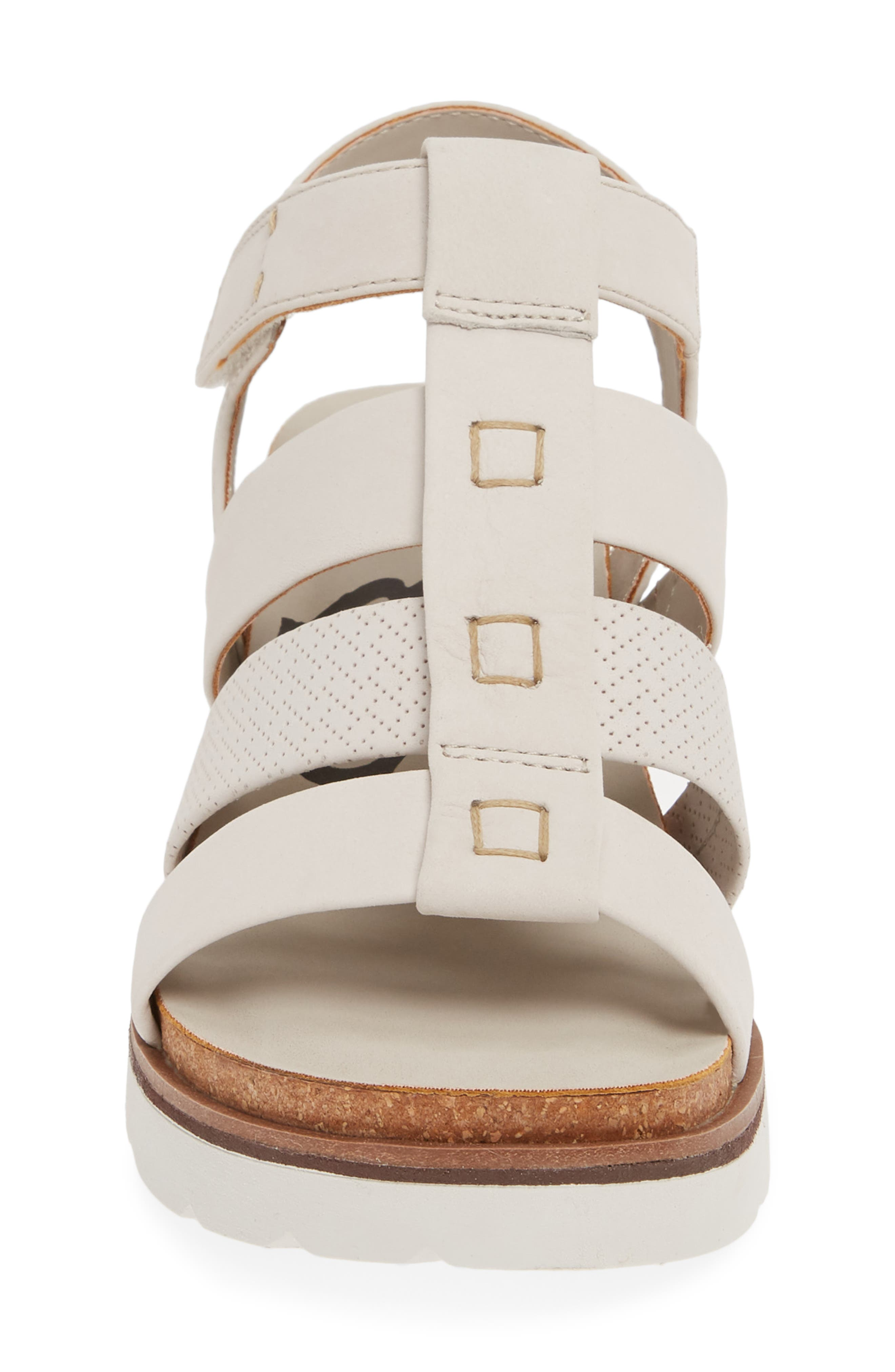 New Moon Wedge Sandal,                             Alternate thumbnail 4, color,                             DOVE GREY LEATHER