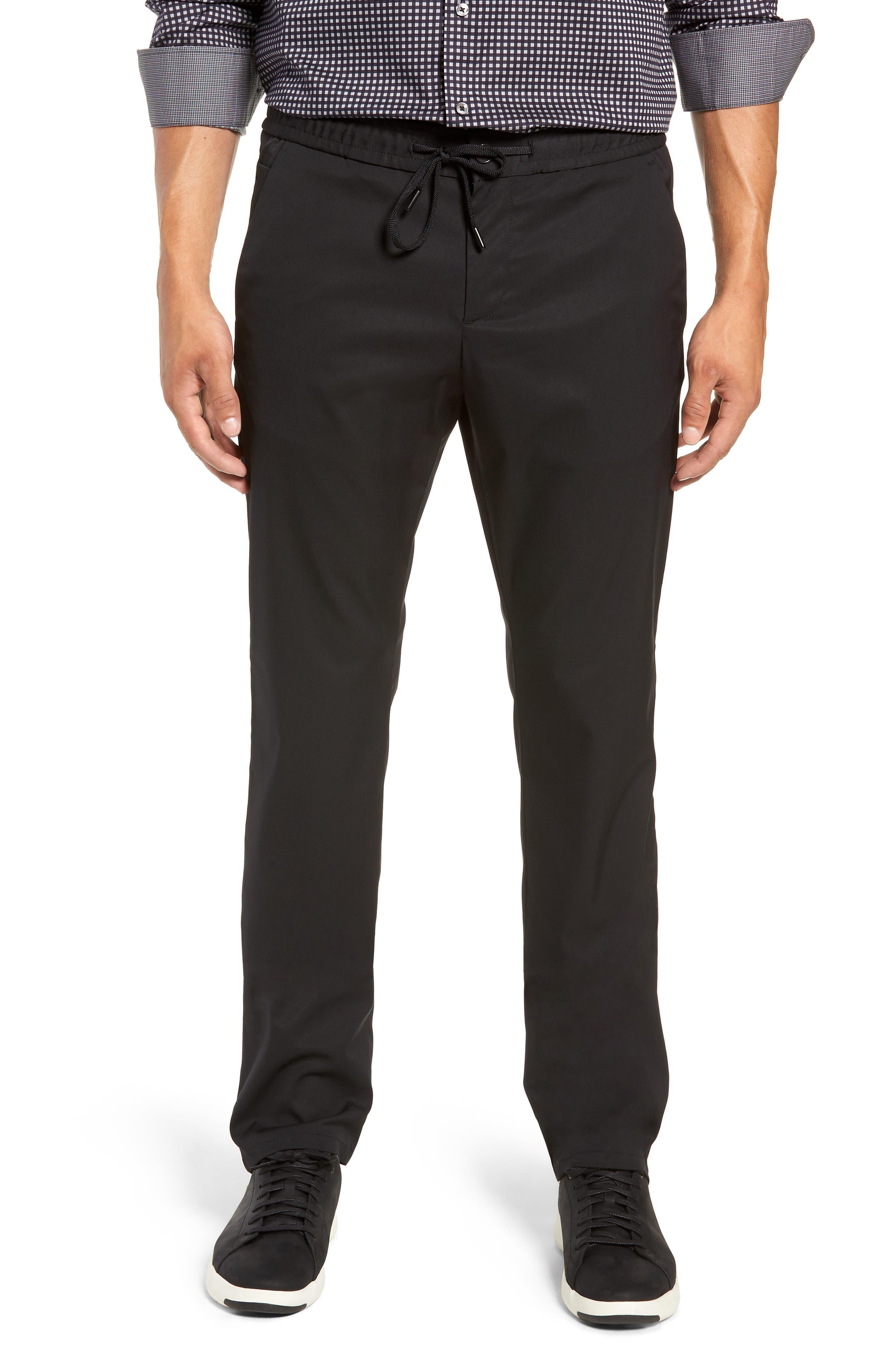 Drawstring Flat Front Pants,                         Main,                         color, BLACK