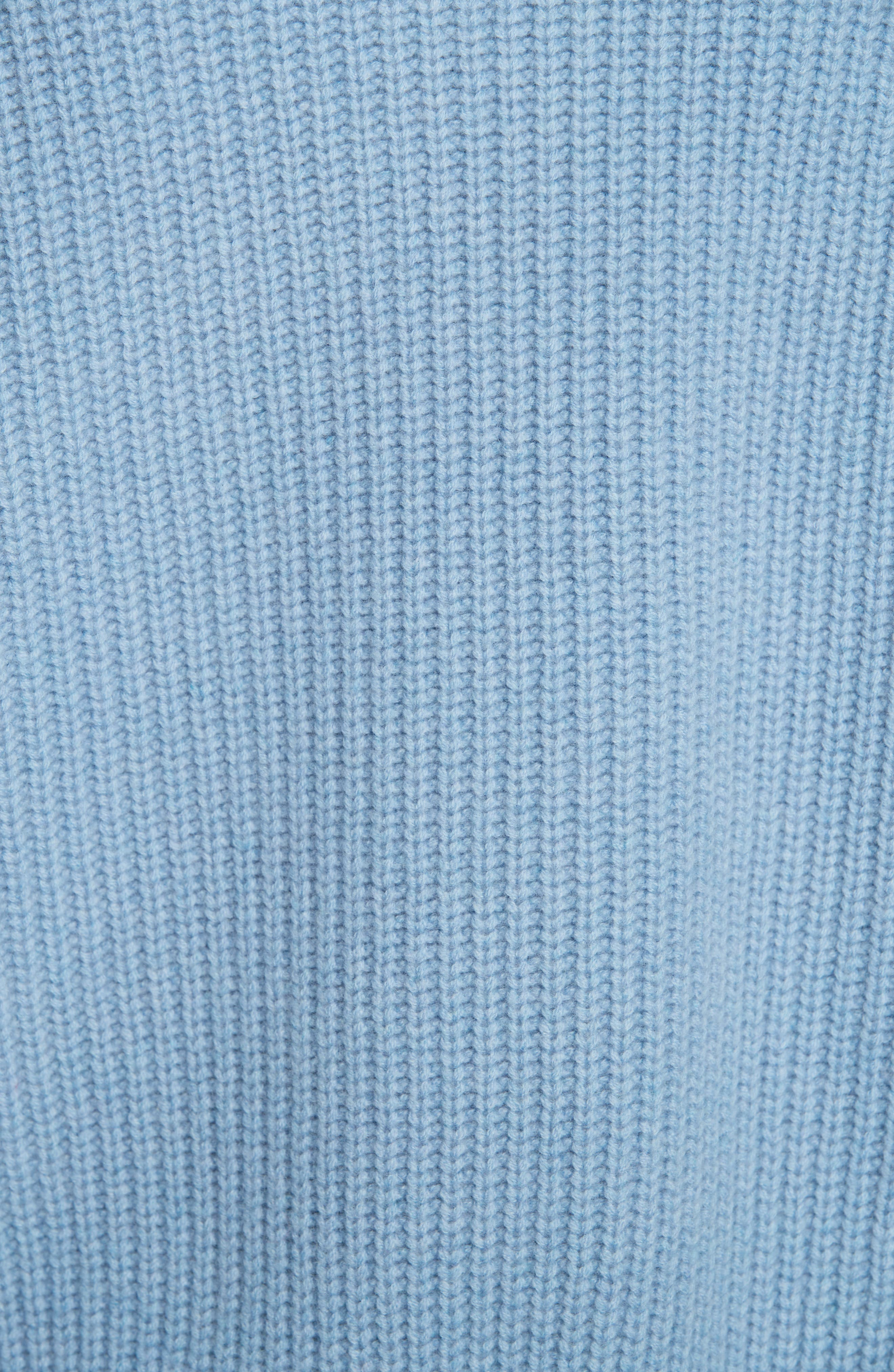 V-Neck Wool & Cashmere Sweater,                             Alternate thumbnail 5, color,                             BLUE COLONY