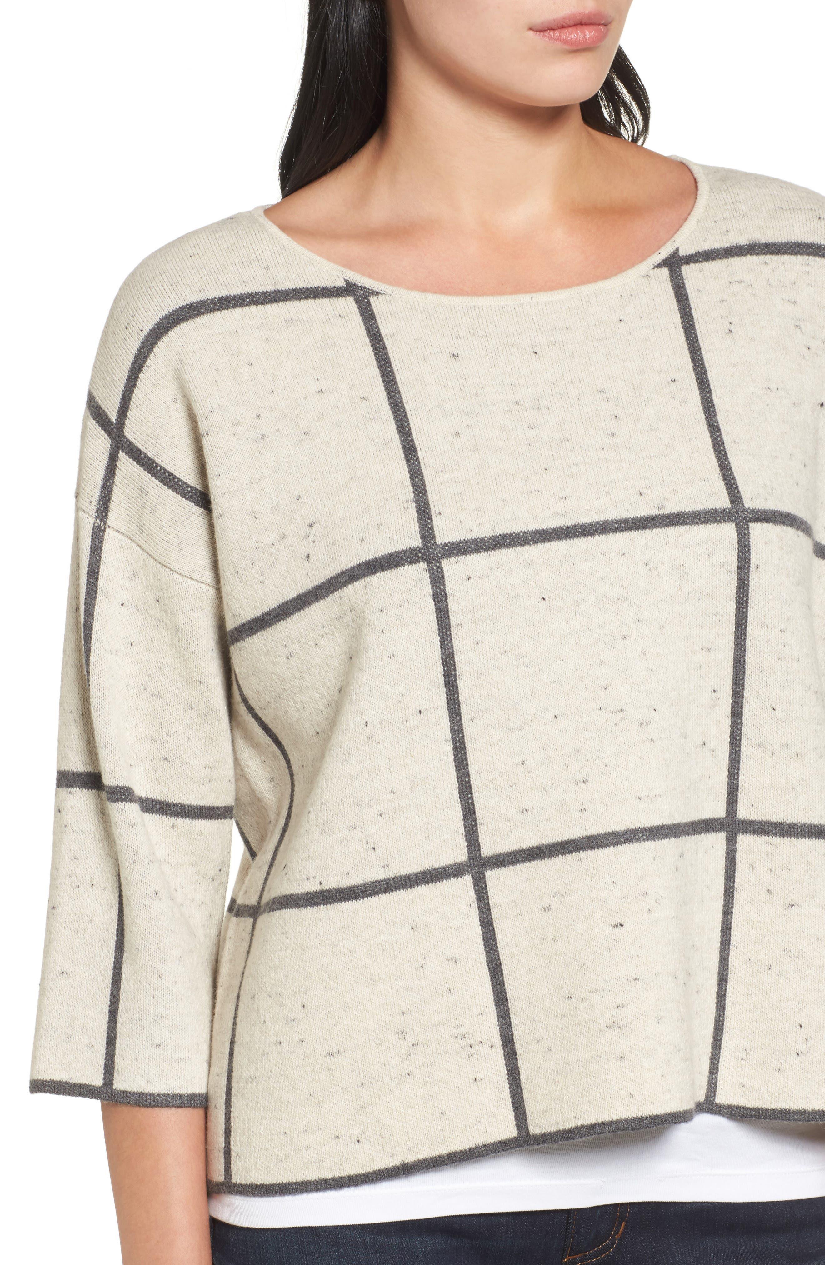 Windowpane Check Boxy Sweater,                             Alternate thumbnail 4, color,
