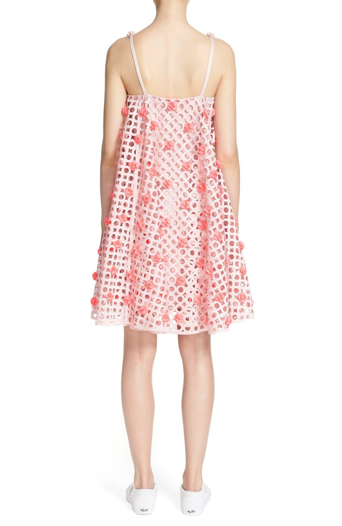 Laser Cut Trapeze Dress,                             Alternate thumbnail 3, color,                             680