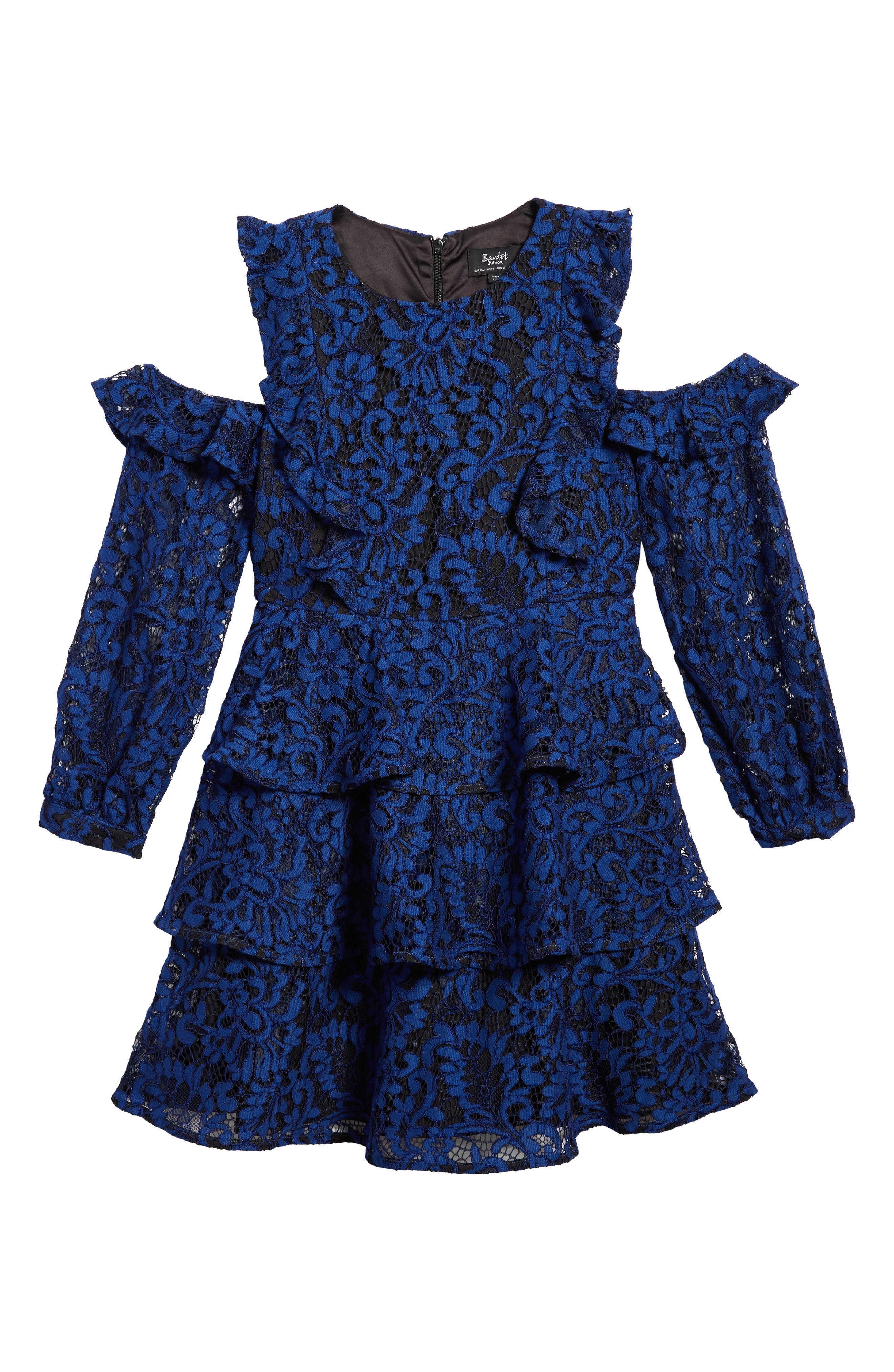 Ruffle Lace Cold Shoulder Dress,                             Main thumbnail 1, color,