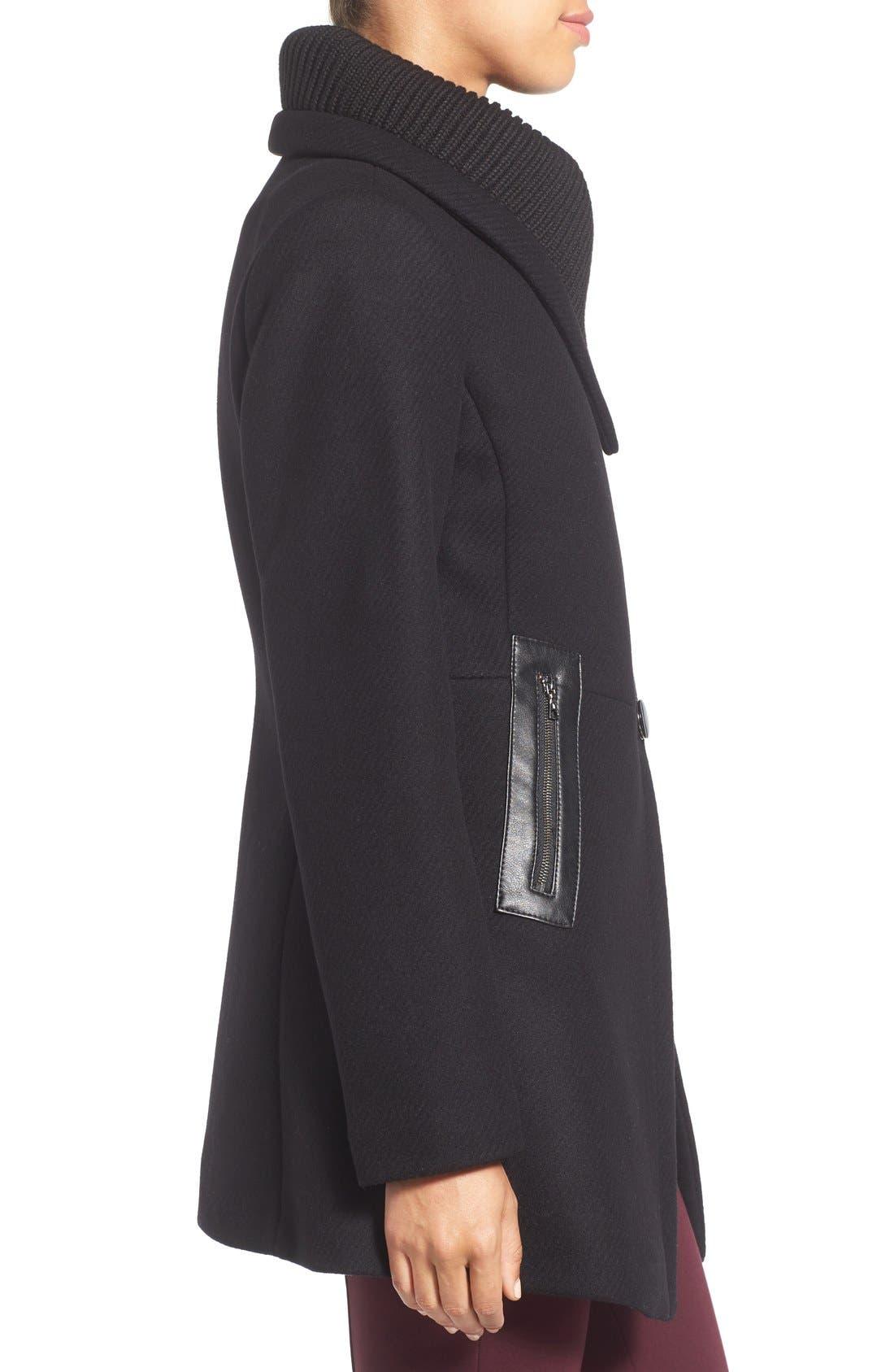 'Maddi' Knit Collar Cutaway Wool Blend Coat,                             Alternate thumbnail 3, color,                             001