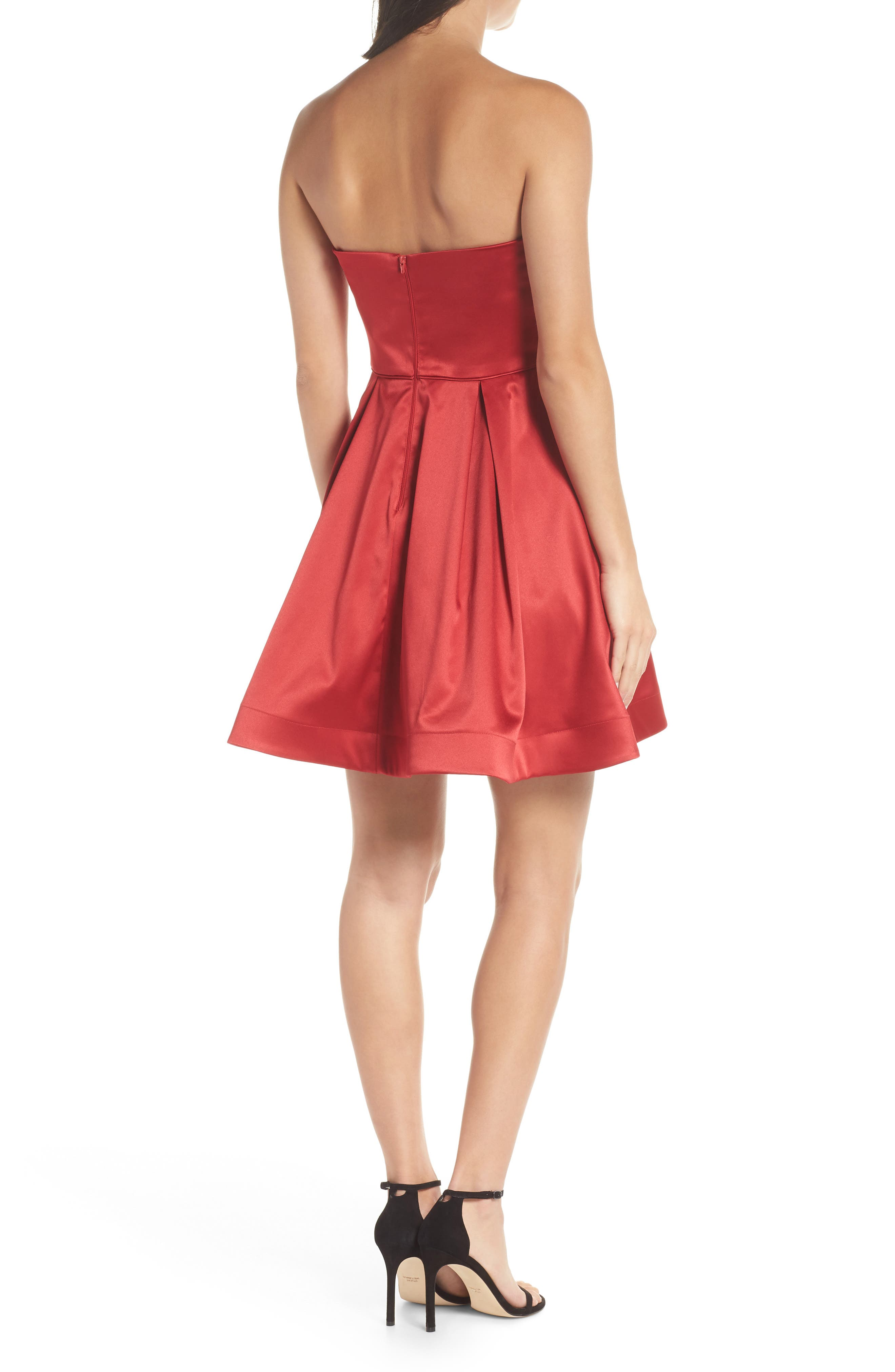 Satin Removable Strap Party Dress,                             Alternate thumbnail 2, color,                             RED