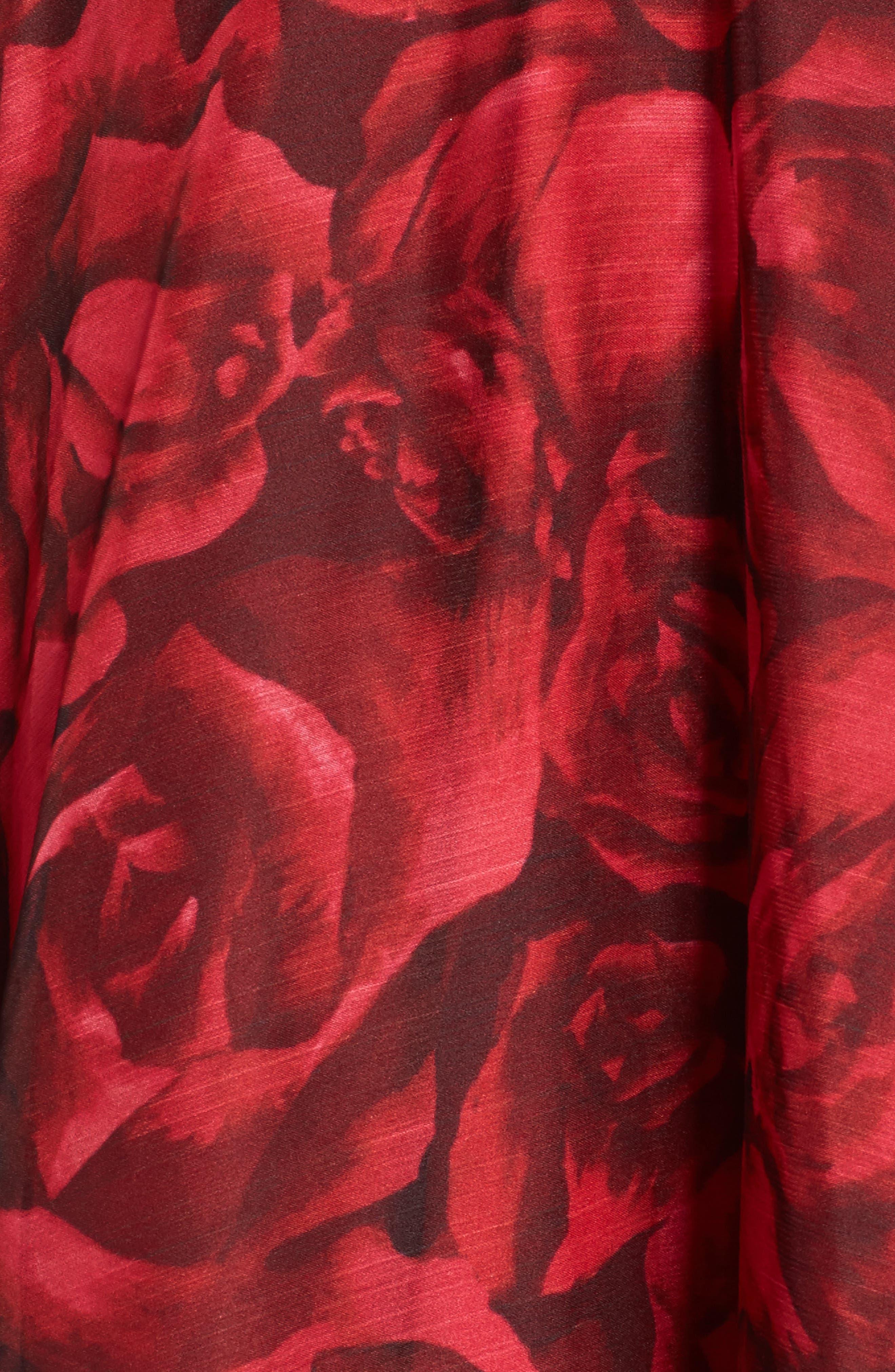 Rose Print Pleated Chiffon Dress,                             Alternate thumbnail 5, color,                             616