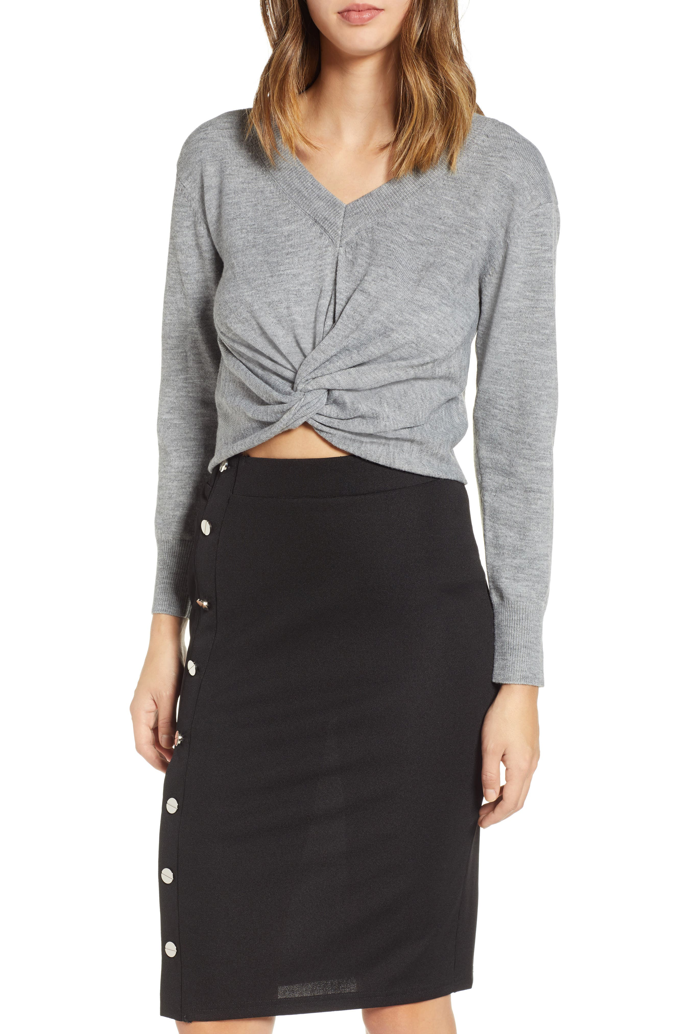 JOA Twist Front Knit Top in Grey