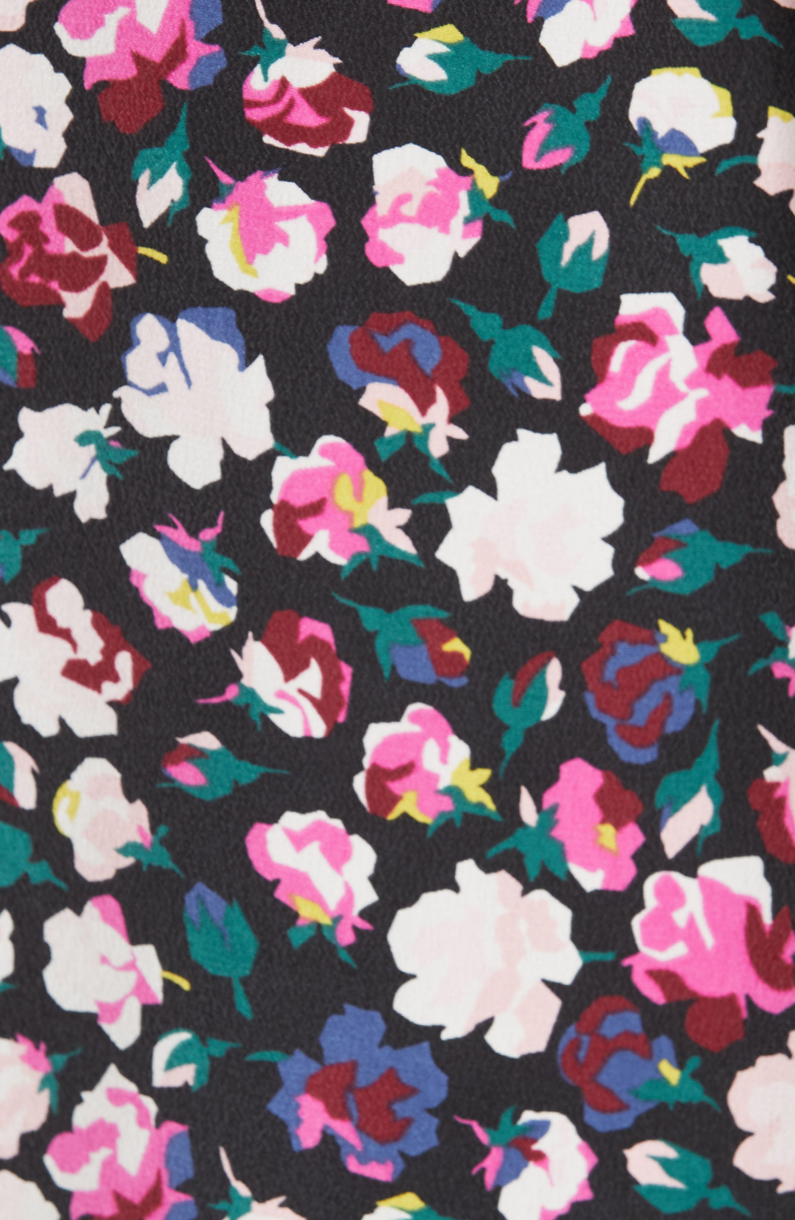 Slim Signature Floral Blouse,                             Alternate thumbnail 5, color,                             TRUE BLACK MULTI
