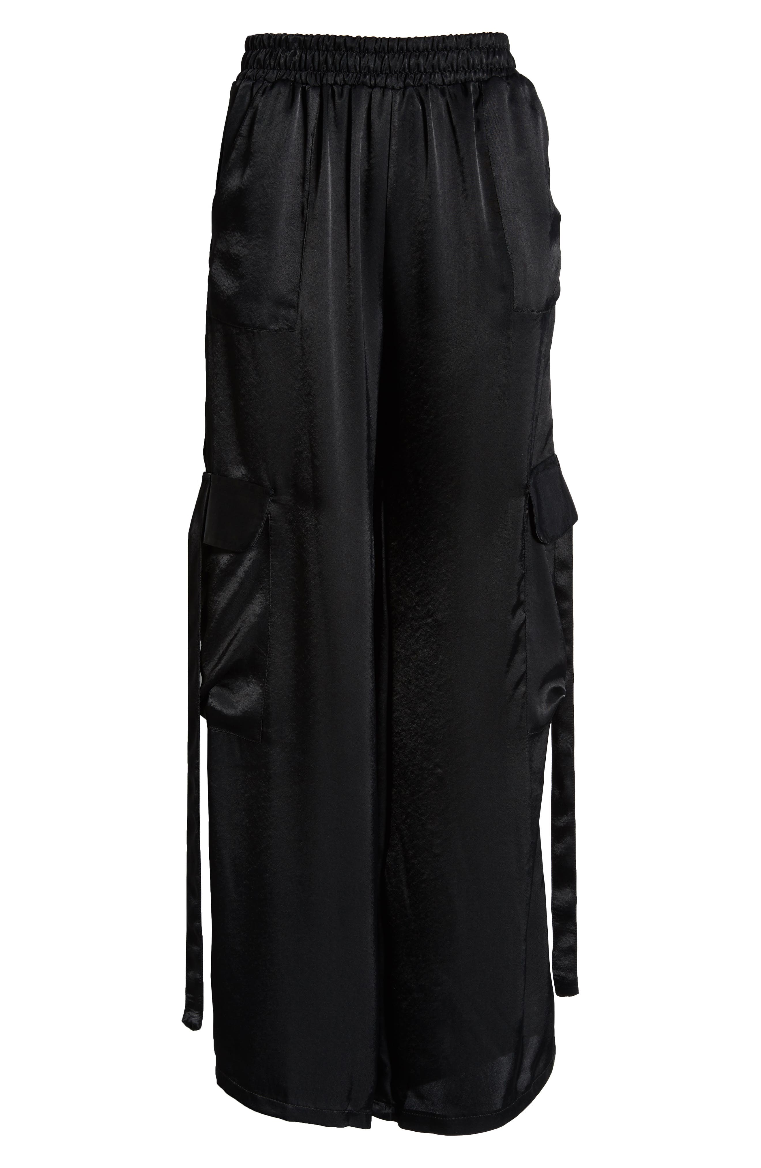 x We Own the Night Satin Combat Wide Leg Trousers,                             Alternate thumbnail 7, color,                             BLACK
