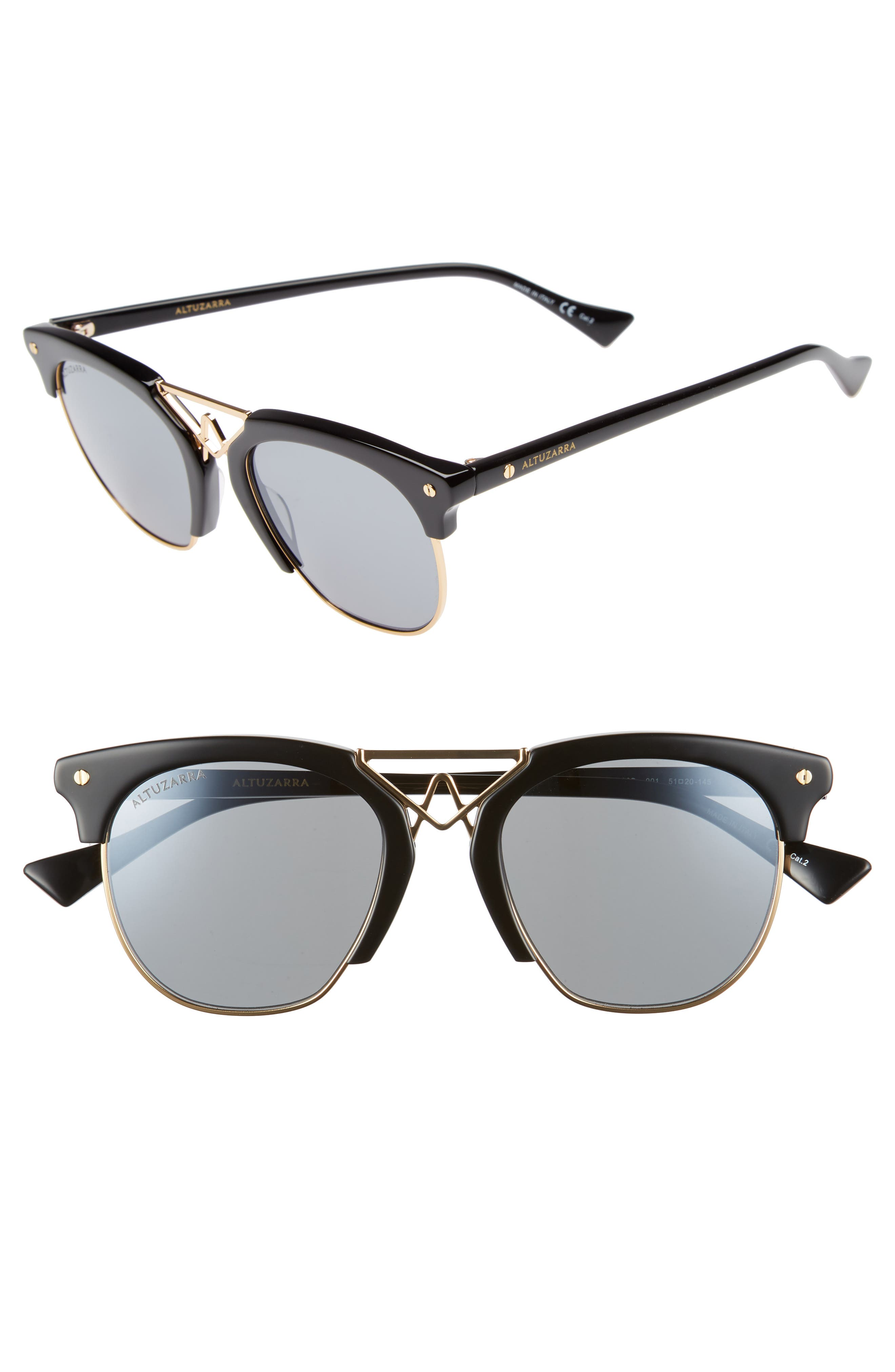 51mm Round Sunglasses,                             Main thumbnail 1, color,                             BLACK/ GOLD