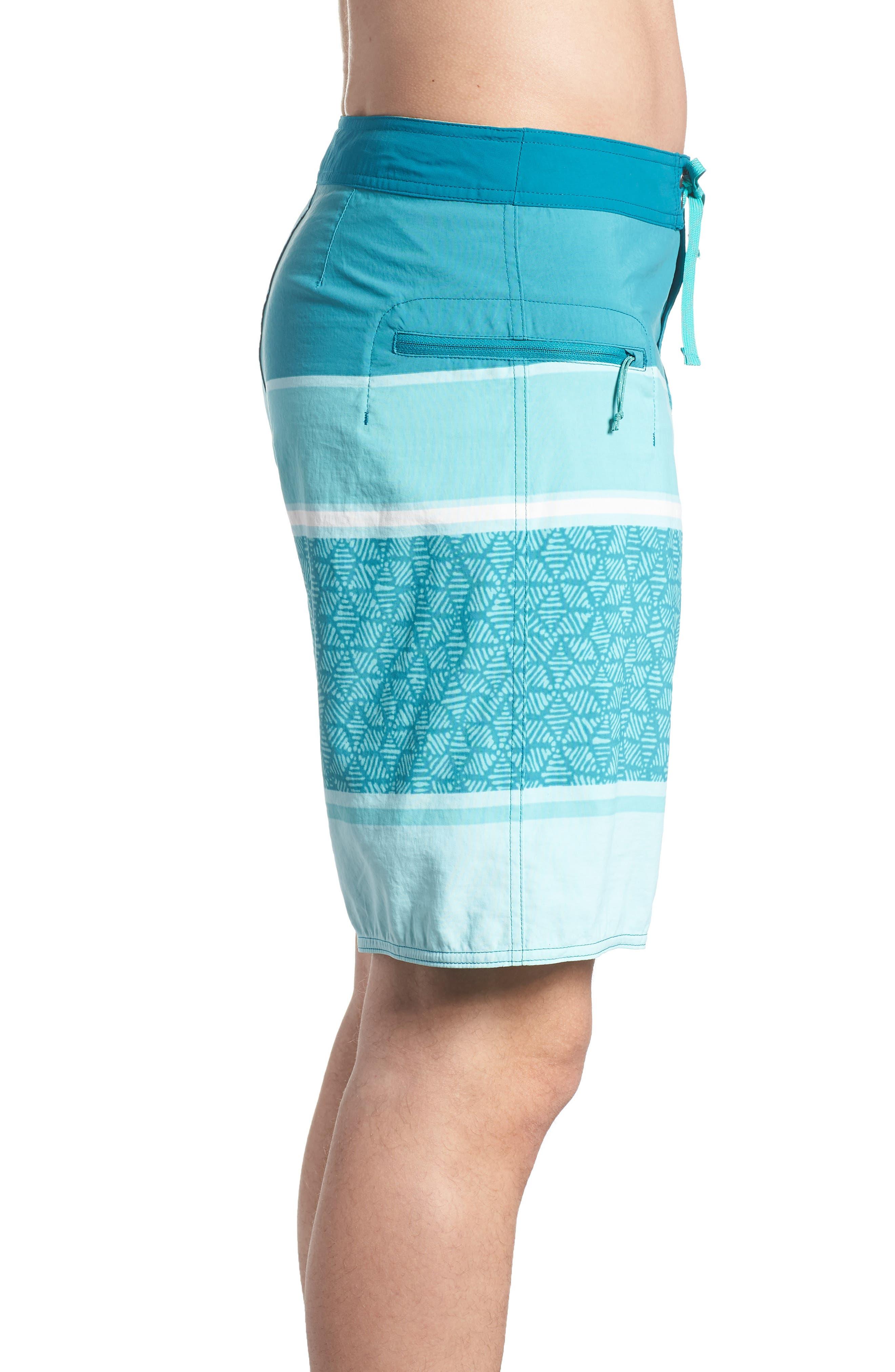 Wavefarer Board Shorts,                             Alternate thumbnail 3, color,                             BATIK HEX STRIPE BEND BLUE