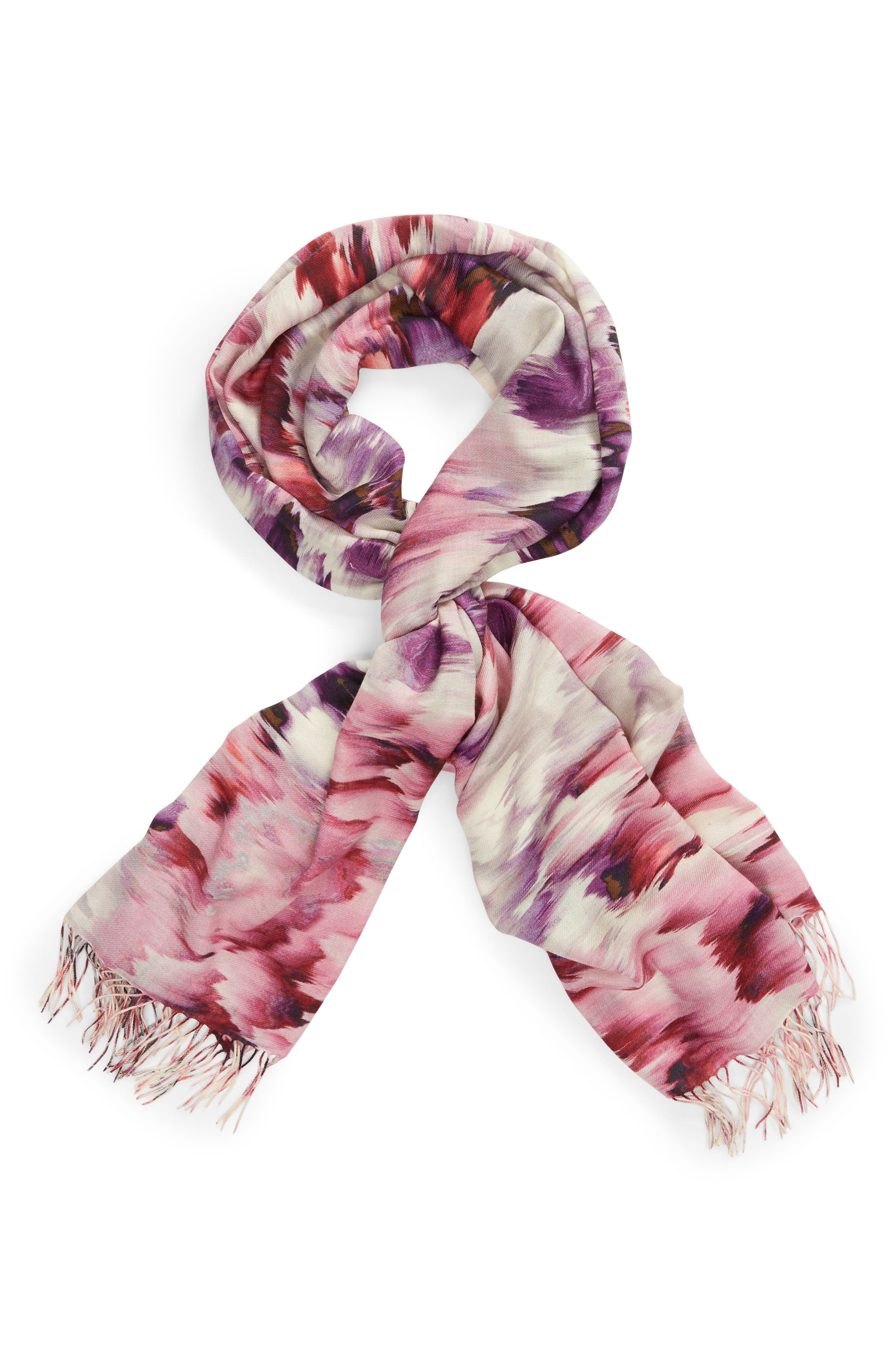 Tissue Print Wool & Cashmere Wrap Scarf,                             Alternate thumbnail 84, color,
