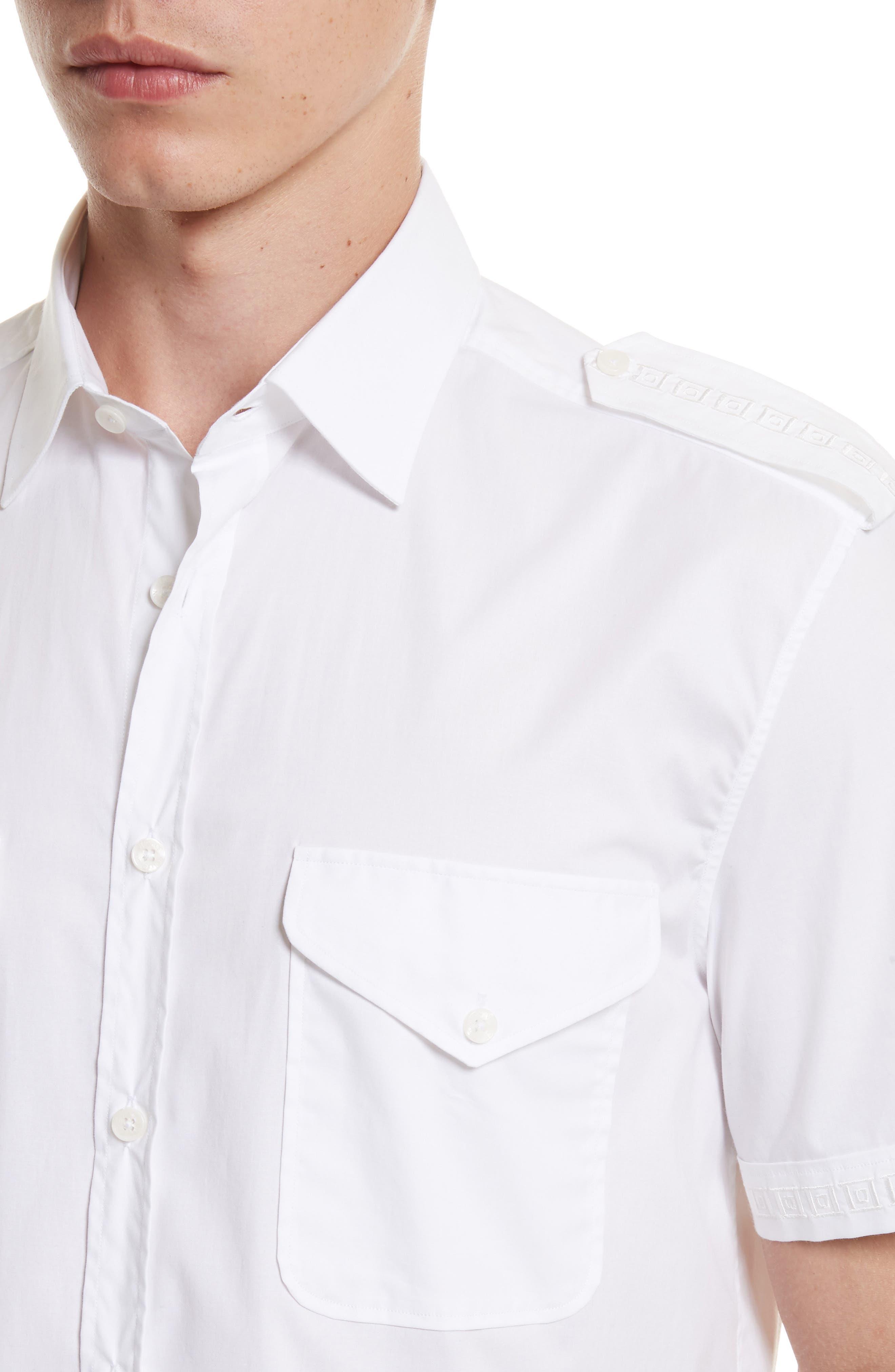Short Sleeve Military Shirt,                             Alternate thumbnail 4, color,                             100