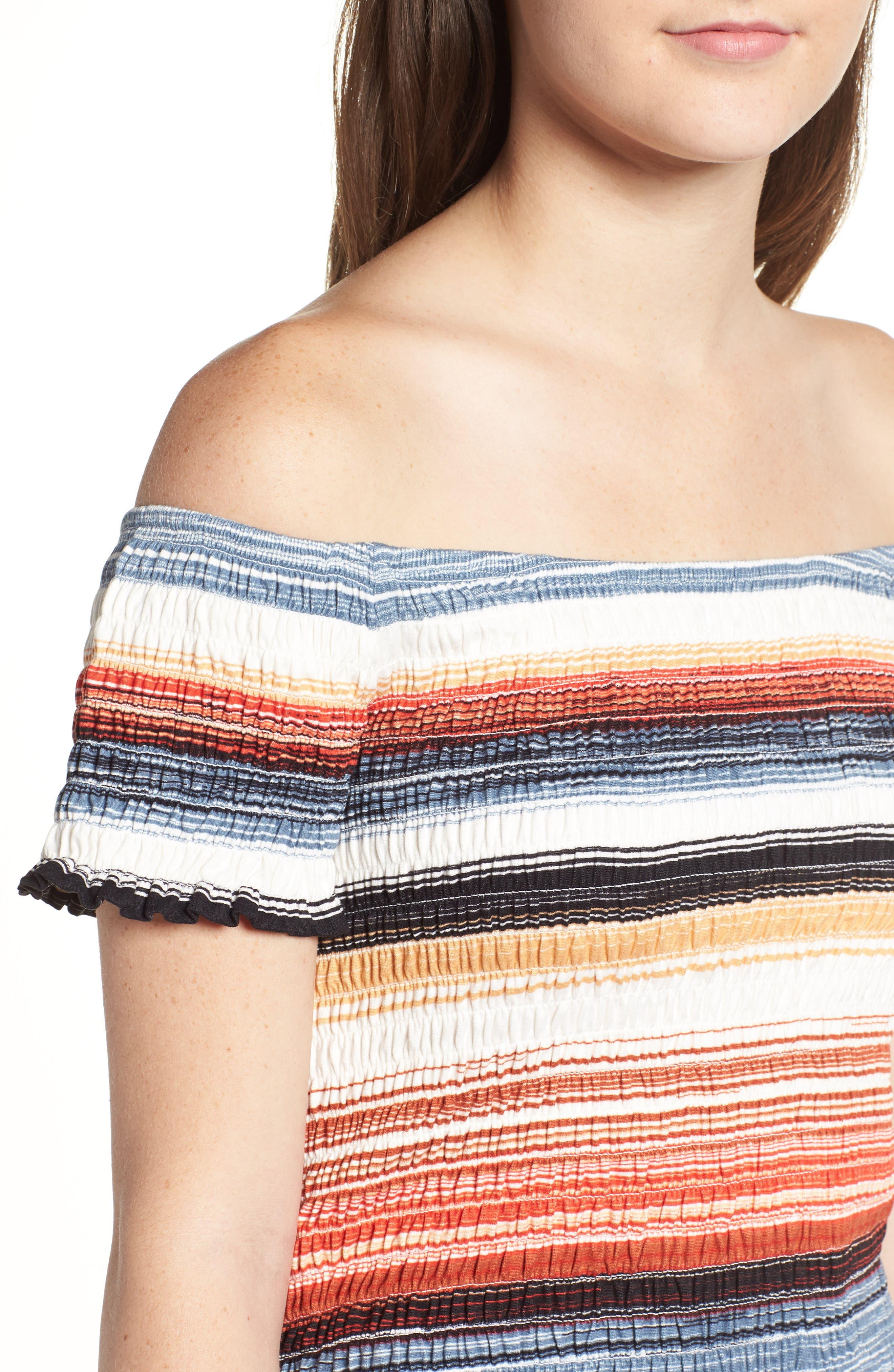 Stripe Smocked Off the Shoulder Top,                             Alternate thumbnail 4, color,                             BLUE RUST