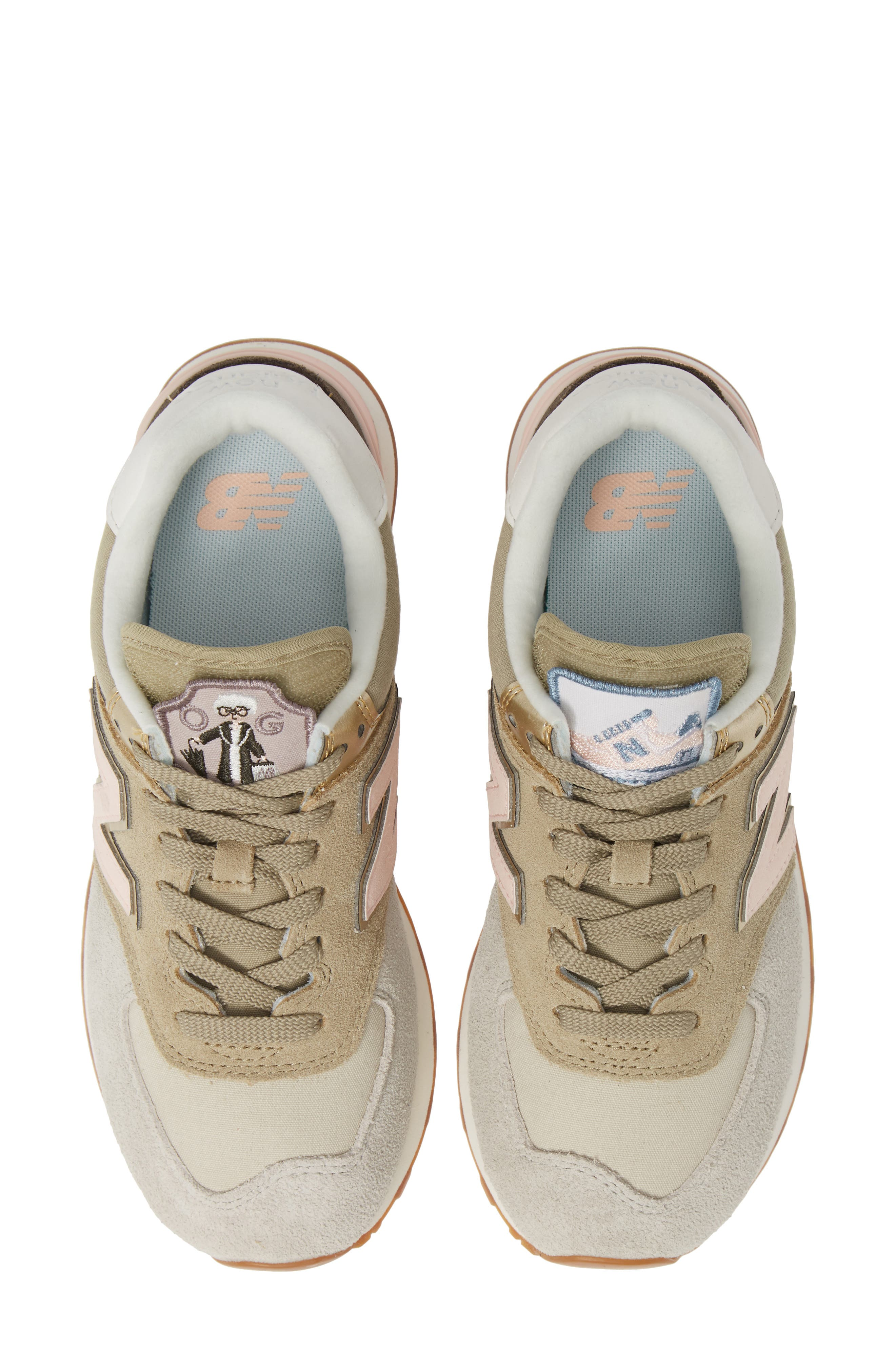 newest 16739 5ce51 New Balance Women s 574 Iconic Patch Low-Top Sneakers In Light Cliff Grey