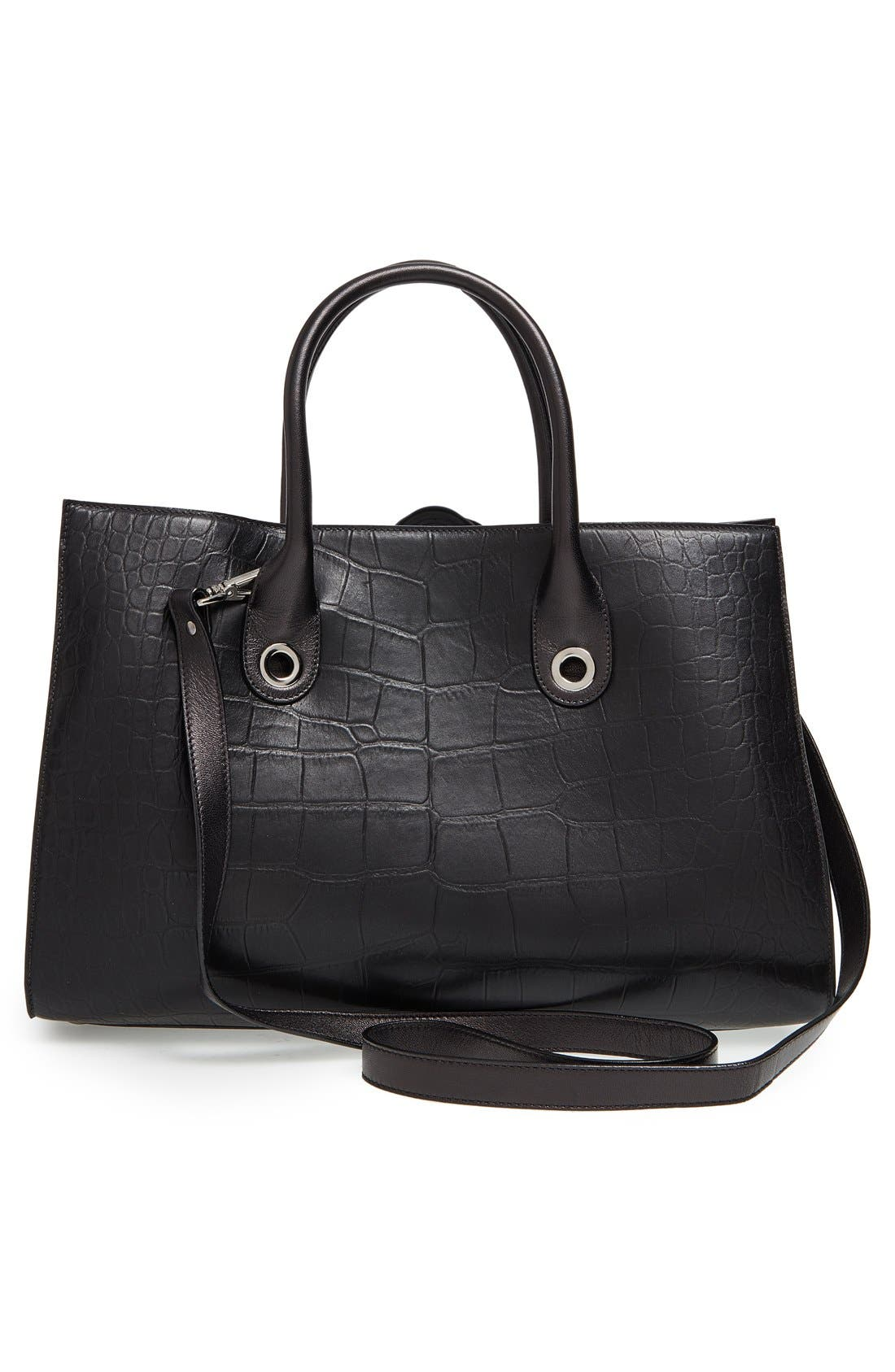 'Riley' Leather Tote,                             Alternate thumbnail 3, color,                             001