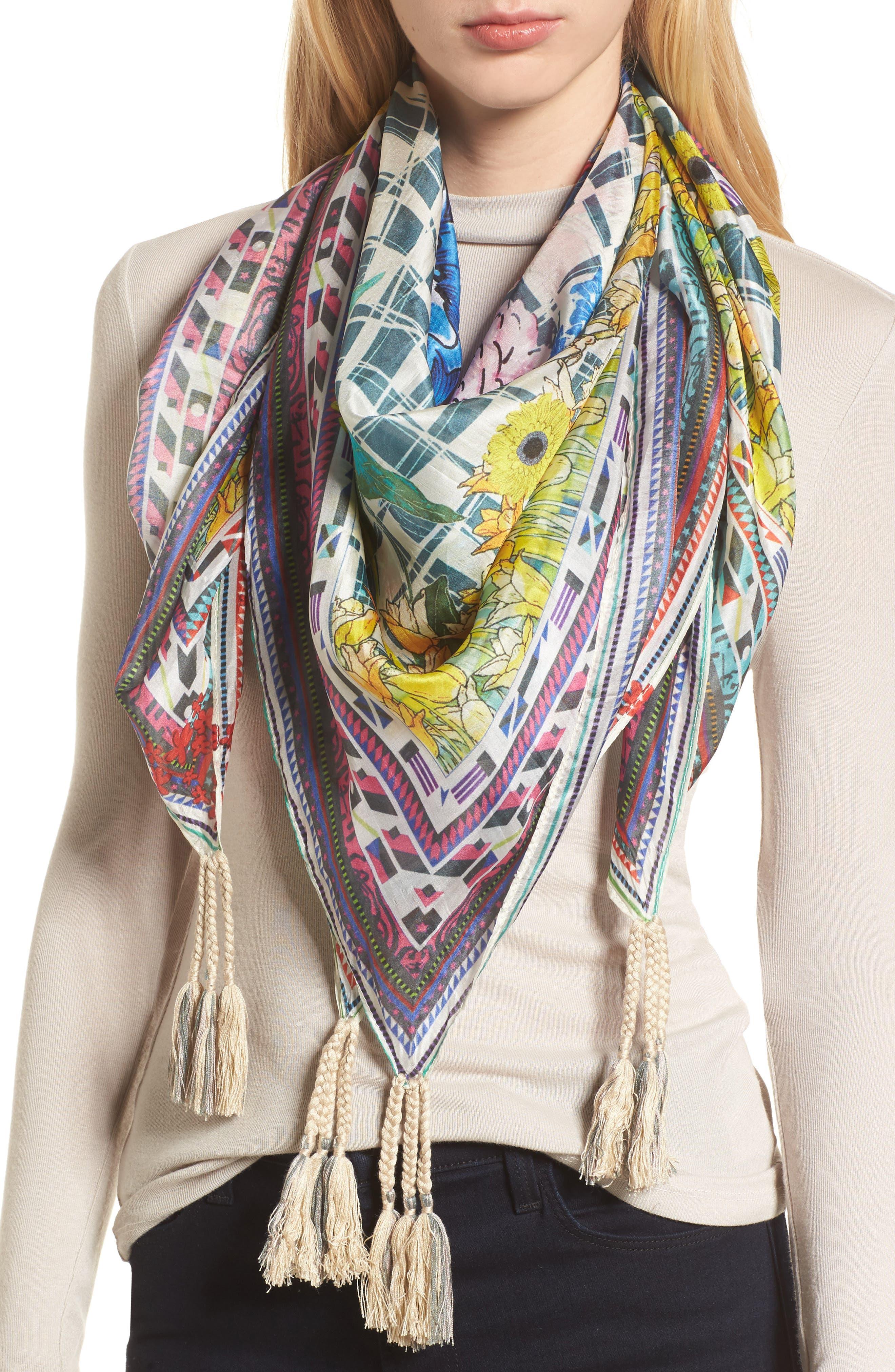 Swag Tassel Trim Silk Scarf,                         Main,                         color, 110