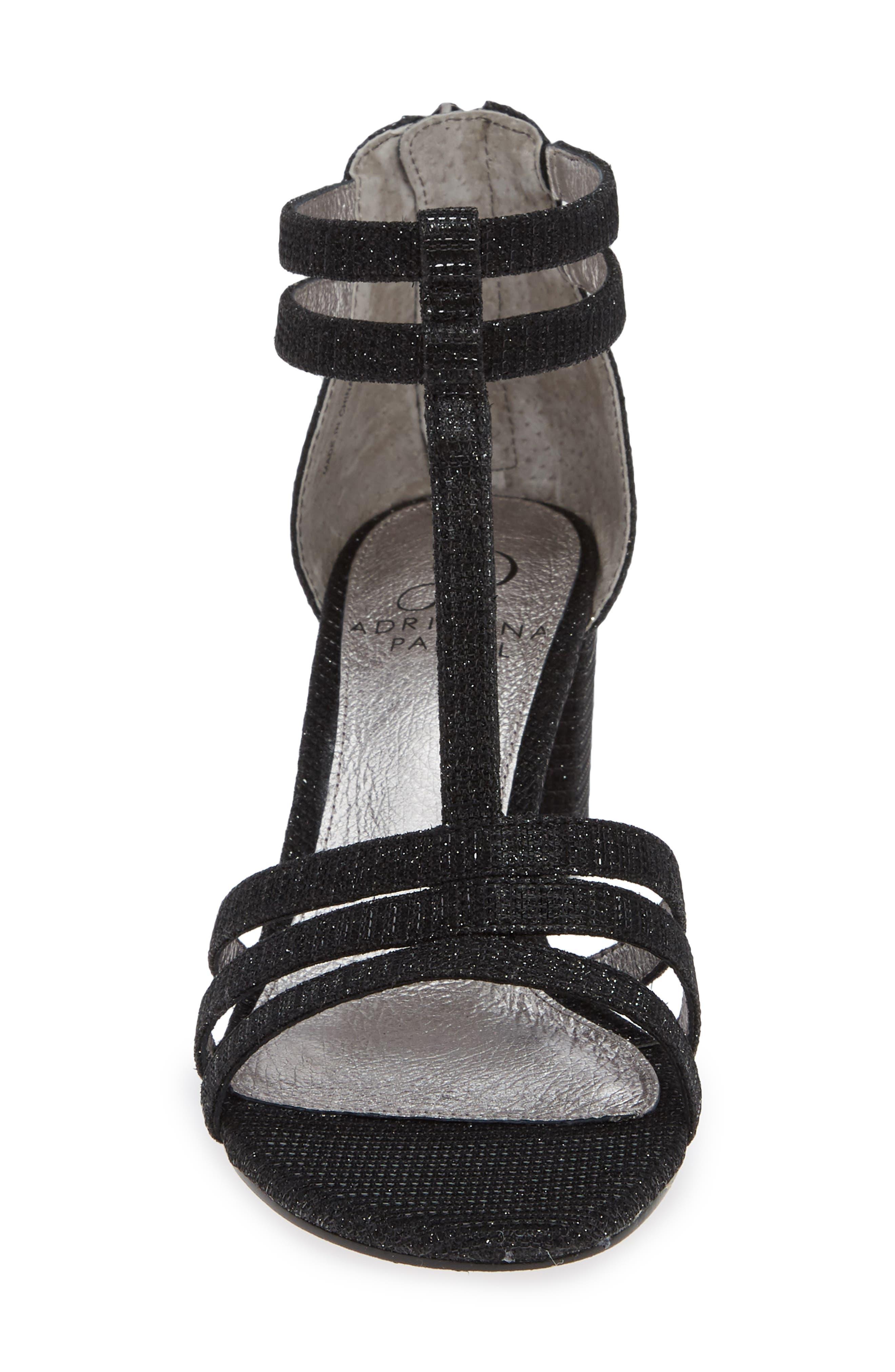 Anella Block Heel Sandal,                             Alternate thumbnail 4, color,                             BLACK GLITTER