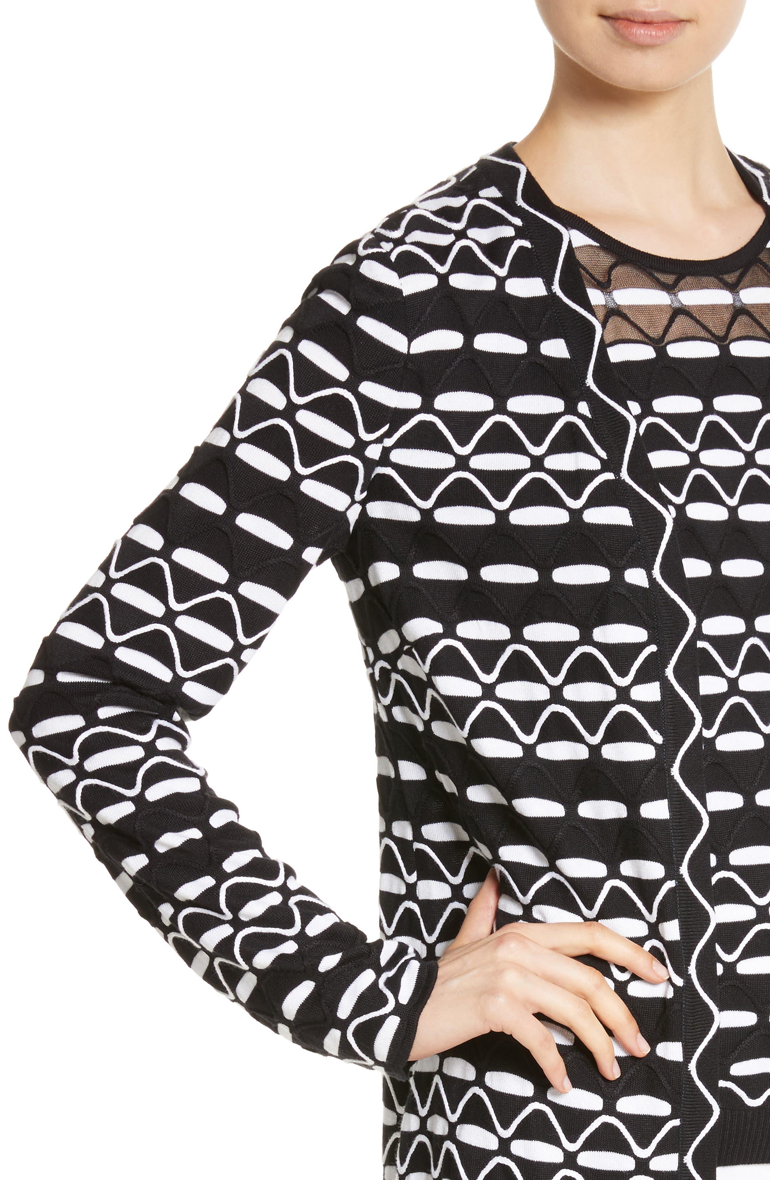 Textural Wave Knit Cardigan,                             Alternate thumbnail 4, color,                             001