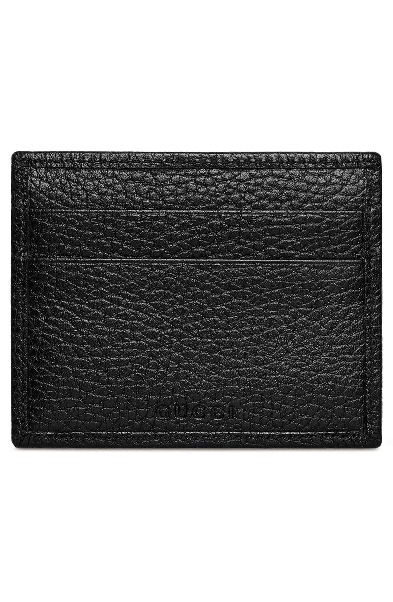 Farfalla Leather Wallet,                             Alternate thumbnail 4, color,                             NERO/ CRYSTAL