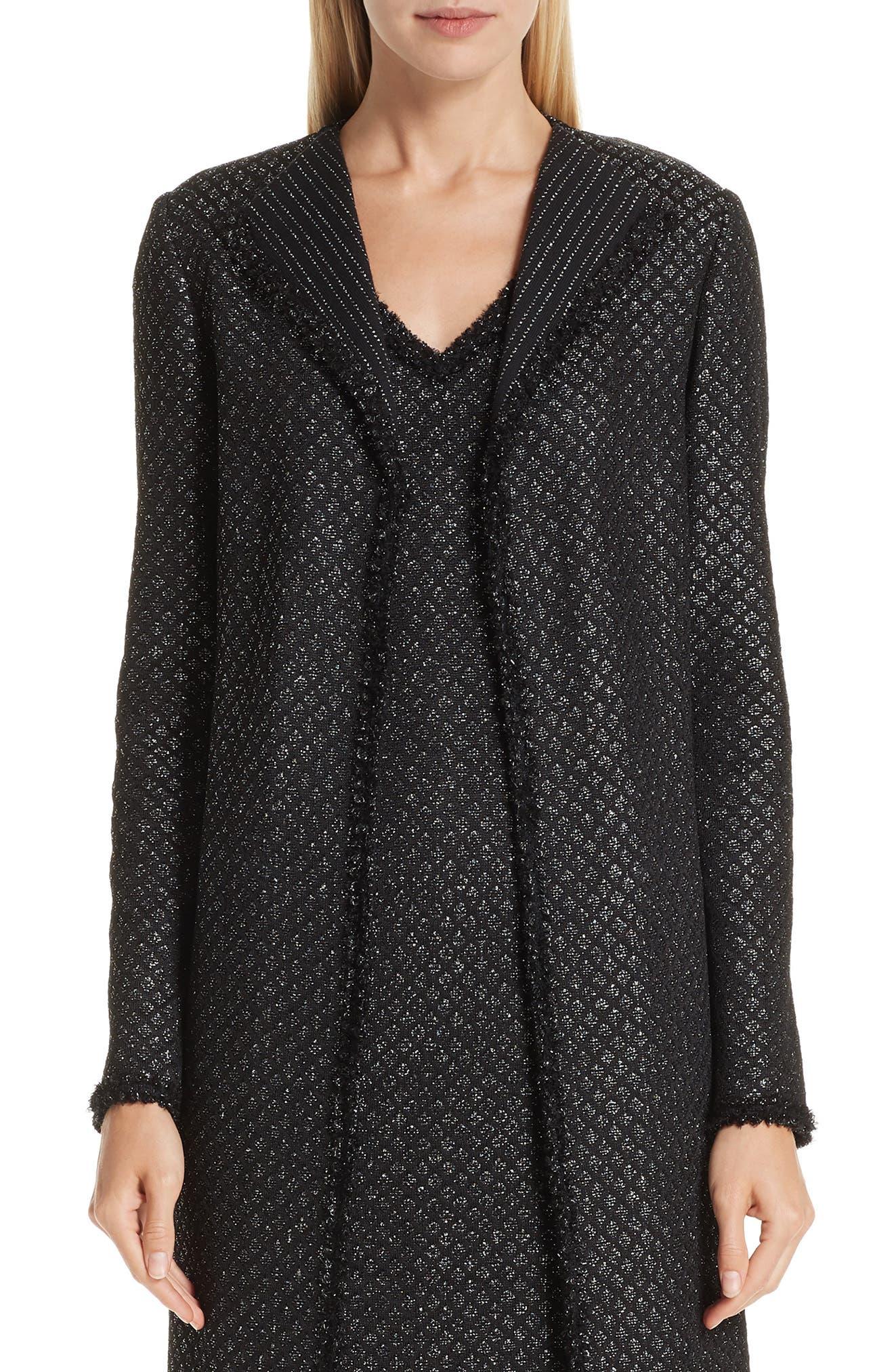 Shimmer Inlay Brocade Knit Jacket, Main, color, CAVIAR/ SILVER