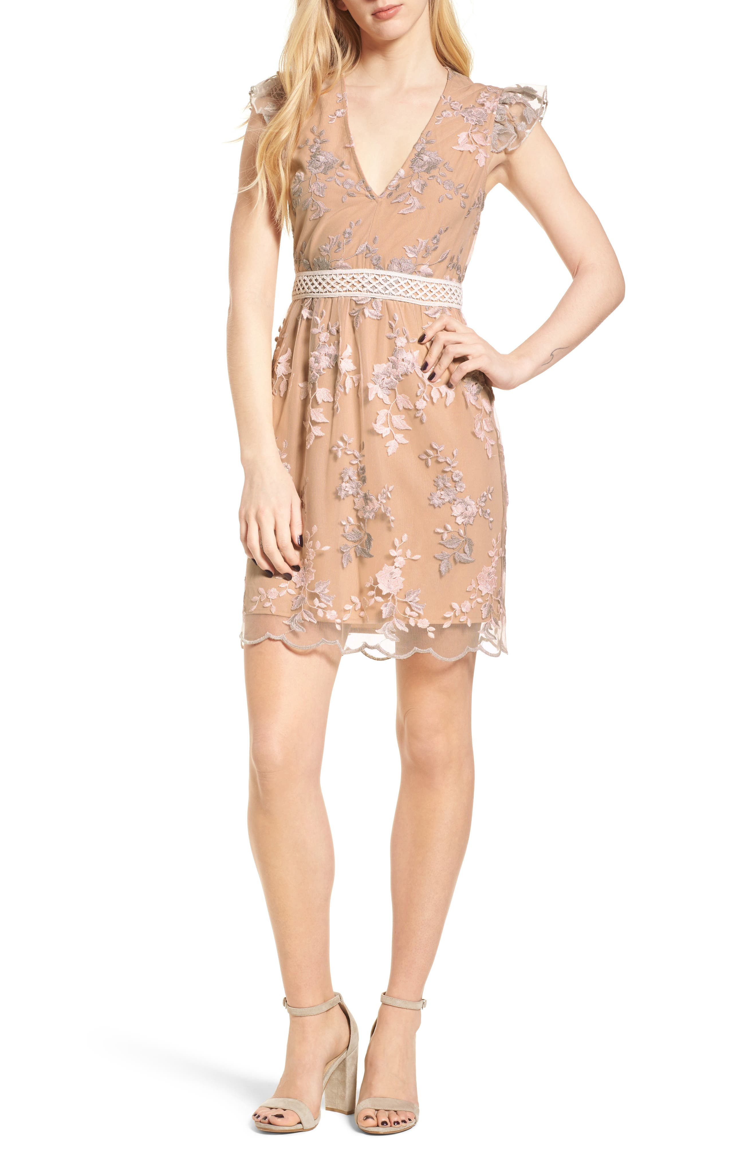 Oakfield Embroidered Minidress,                             Main thumbnail 1, color,                             650