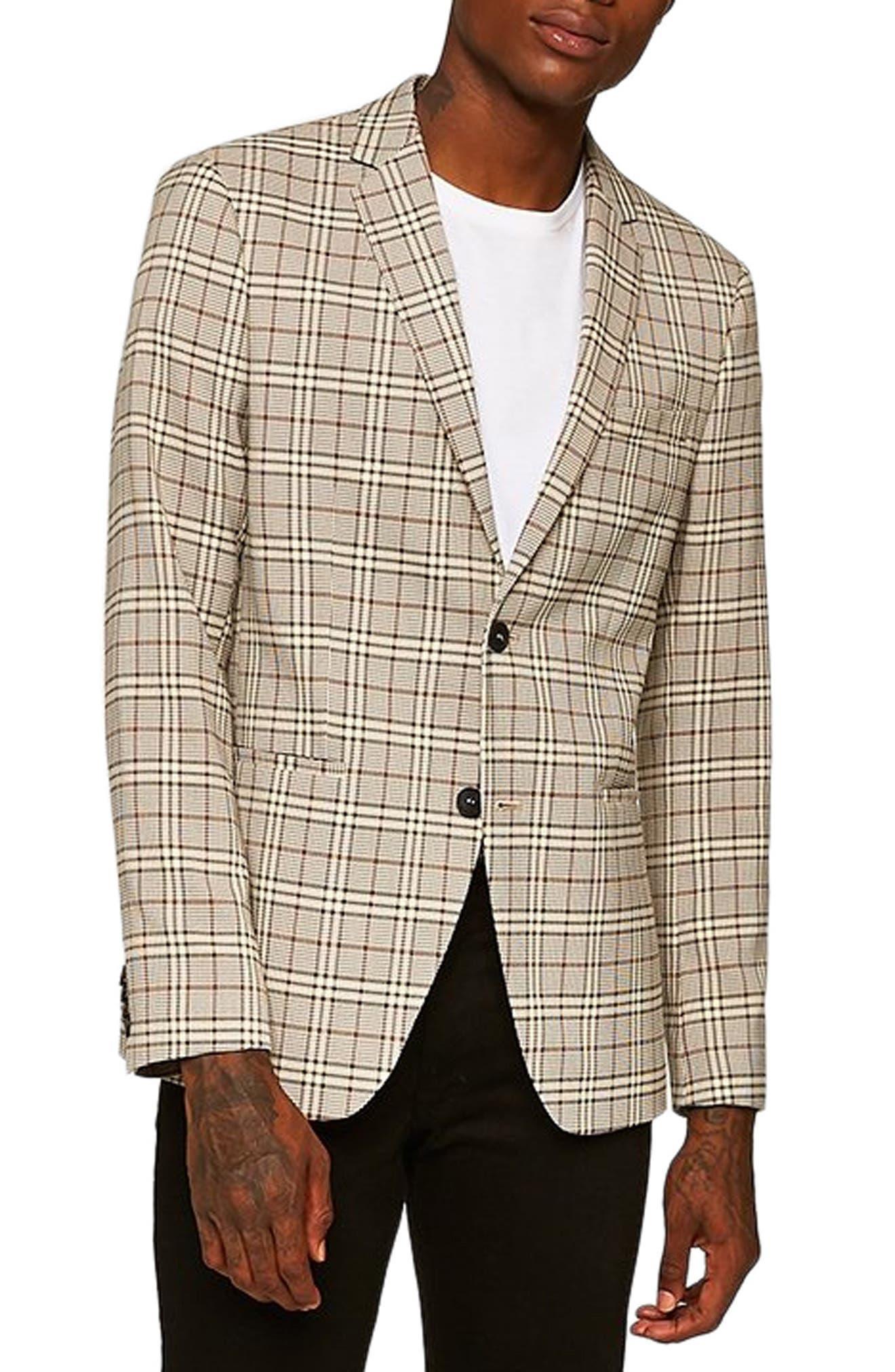 Slim Fit Check Blazer,                         Main,                         color, STONE