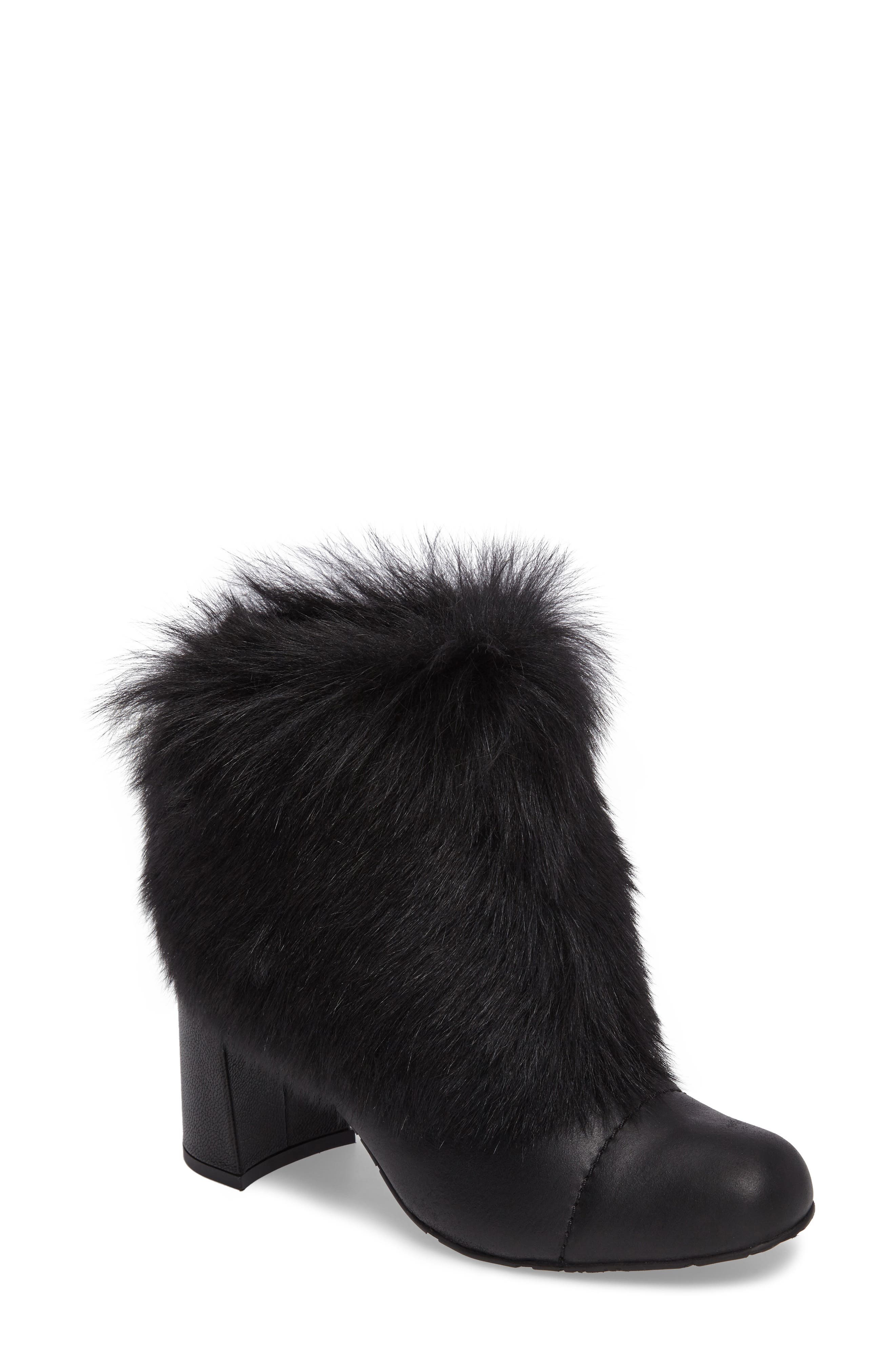 Woka Genuine Shearling Bootie,                             Main thumbnail 1, color,                             001