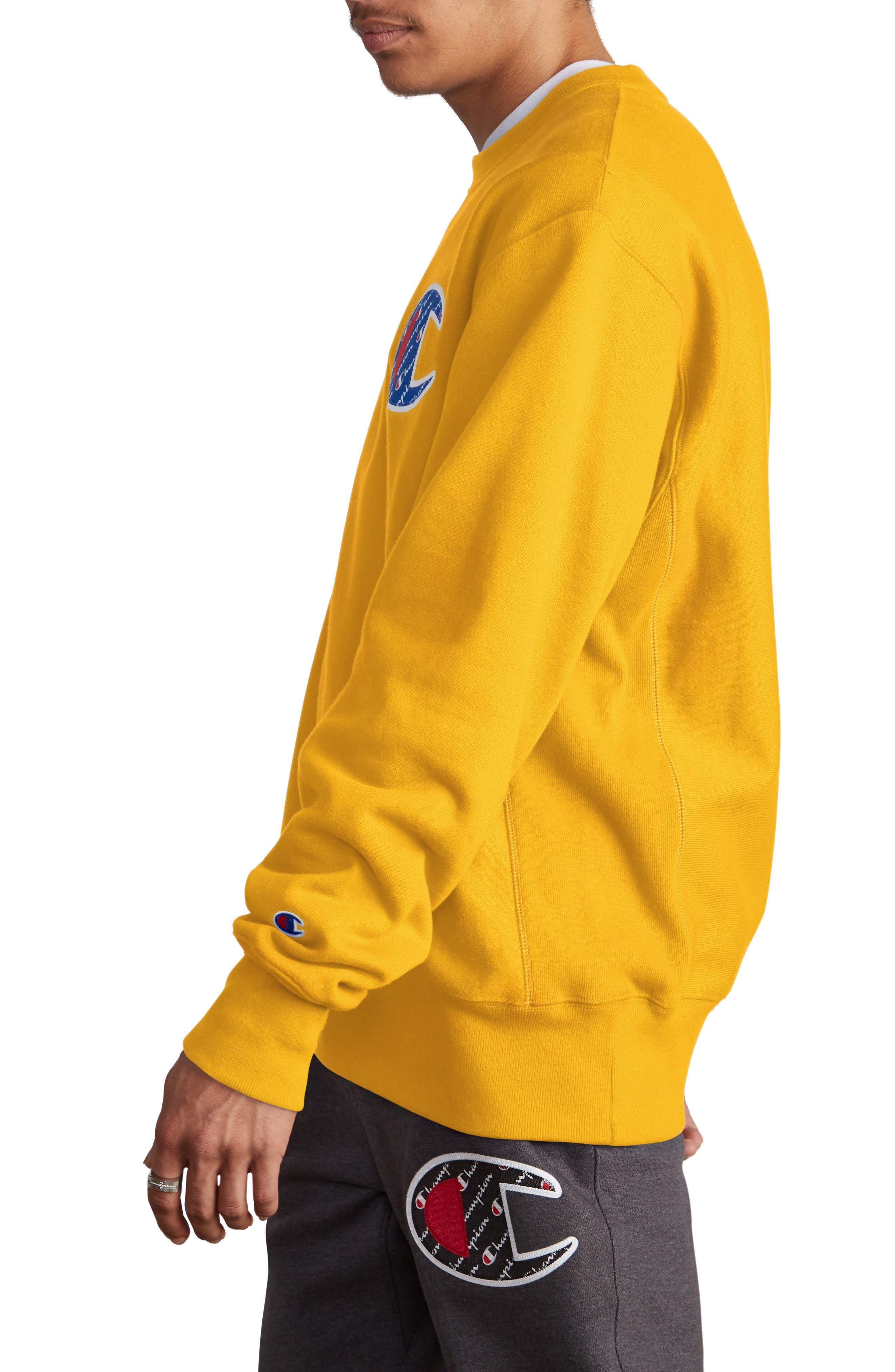 Sublimated Logo Crewneck Sweatshirt,                             Alternate thumbnail 3, color,                             CHAMPION GOLD