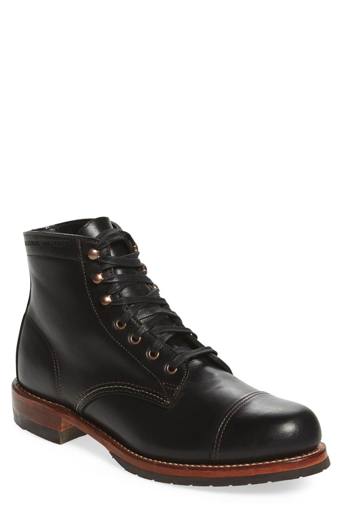 'Adrian' Cap Toe Boot,                             Main thumbnail 1, color,                             001