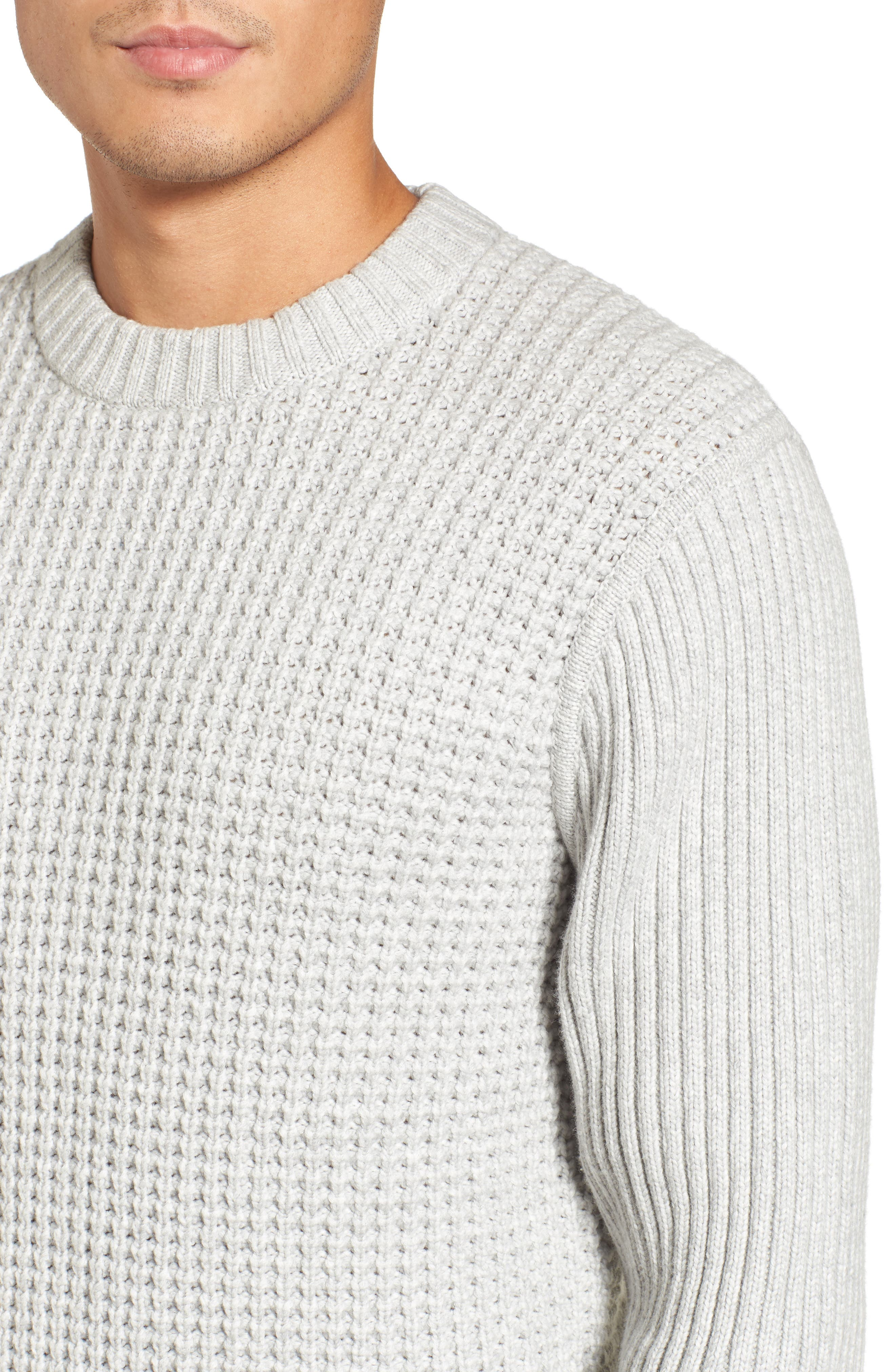 Heavyweight Mixed Knit Crewneck Sweater,                             Alternate thumbnail 4, color,                             050