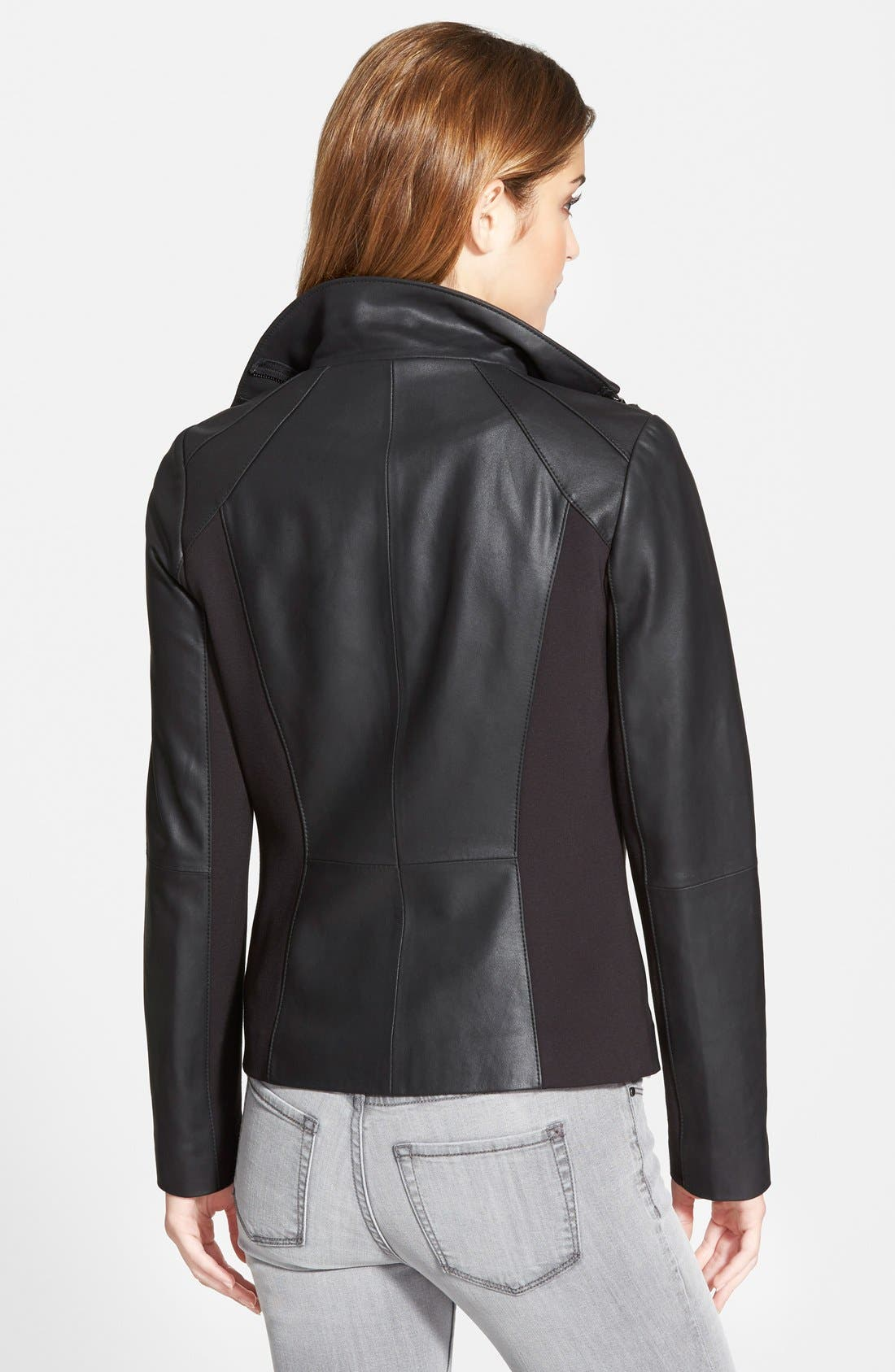 'Angelina' Zip Collar Leather Jacket,                             Alternate thumbnail 3, color,                             001