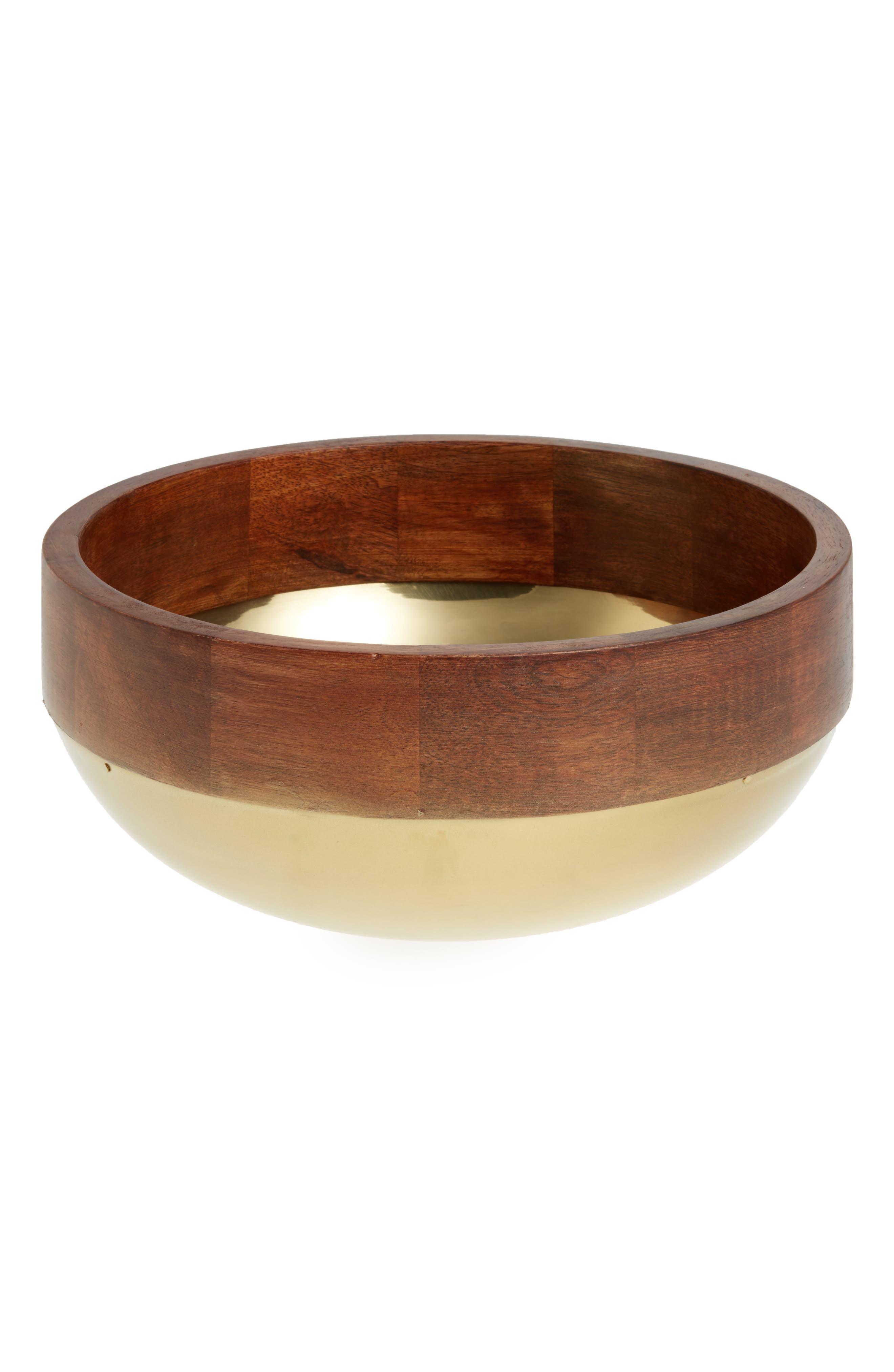 Wood & Metal Serving Bowl,                         Main,                         color, GOLD METALLIC